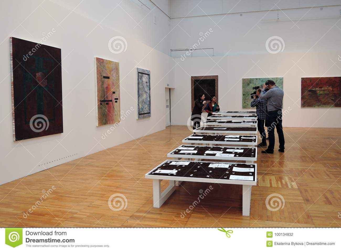 Artists And Journalists At 7th Moscow International Biennale Of