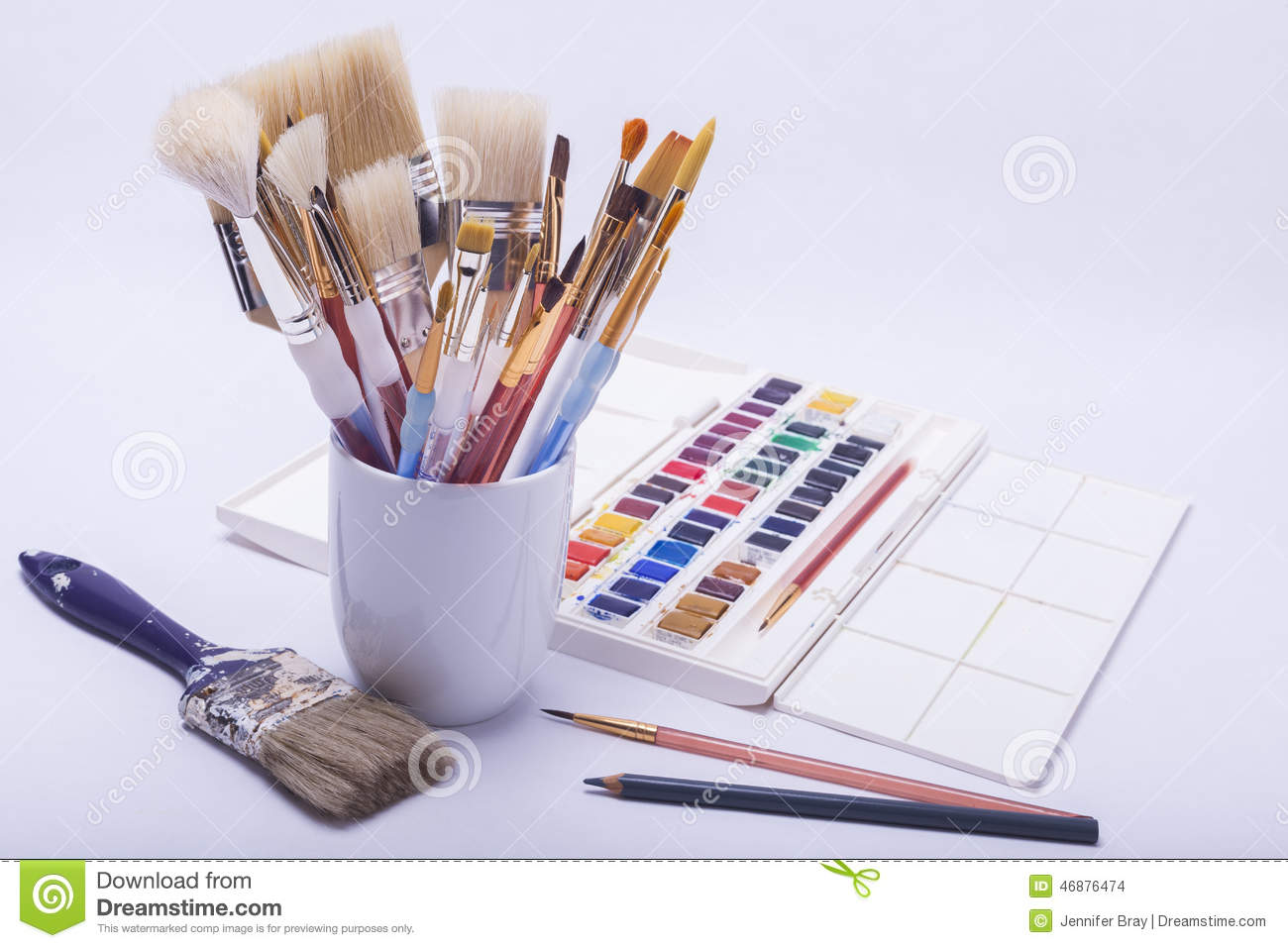 artists painting and drawing materials stock photo image