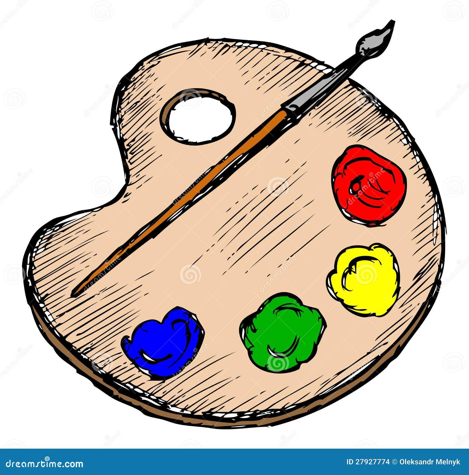 Cartoon Art Pallet Artists palette and brush