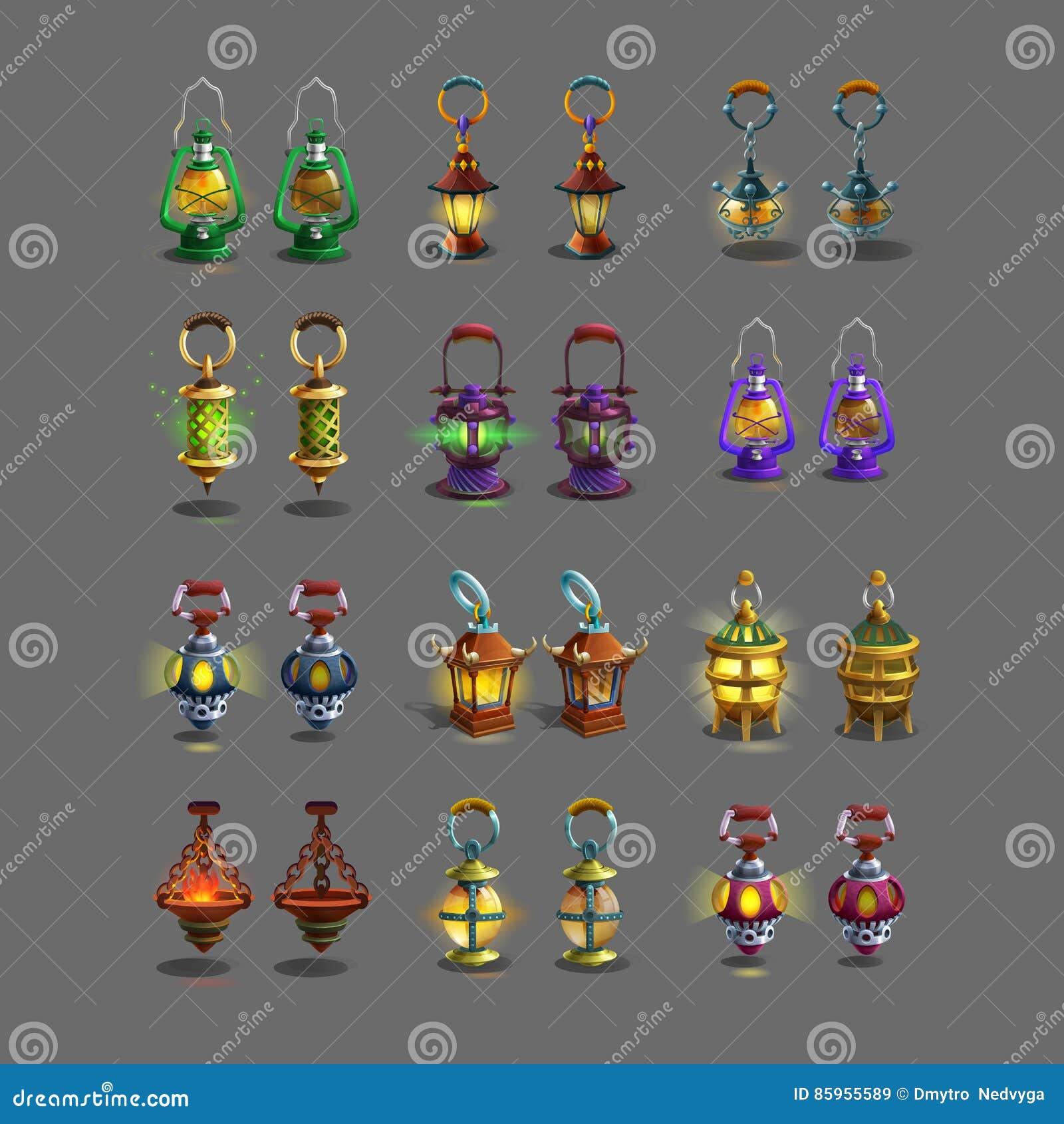 ; artoon θέστε τους ζωηρόχρωμους αρχαίους λαμπτήρες για τα παιχνίδια φαντασίας