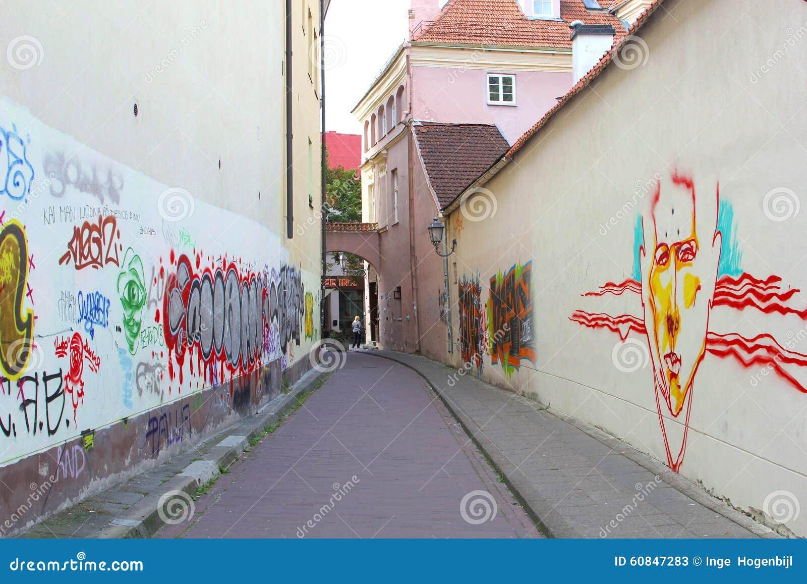 Arts artistiques et colorés de rue dans la vieille ville de Vilnius, Lithuanie