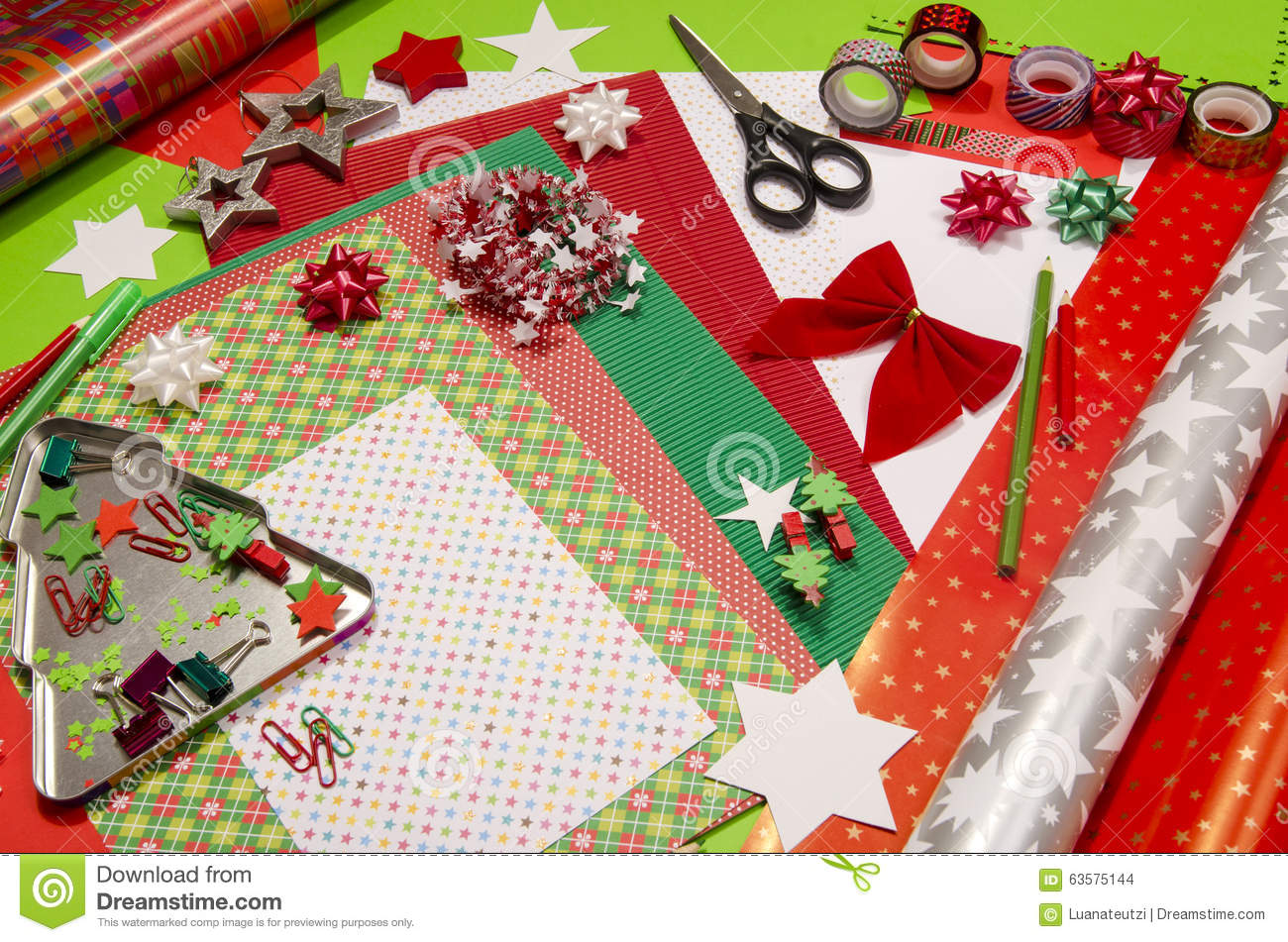 Attractive Craft Supplies Christmas Part - 2: Christmas Colorful Craft Paper Scissors Supplies ...