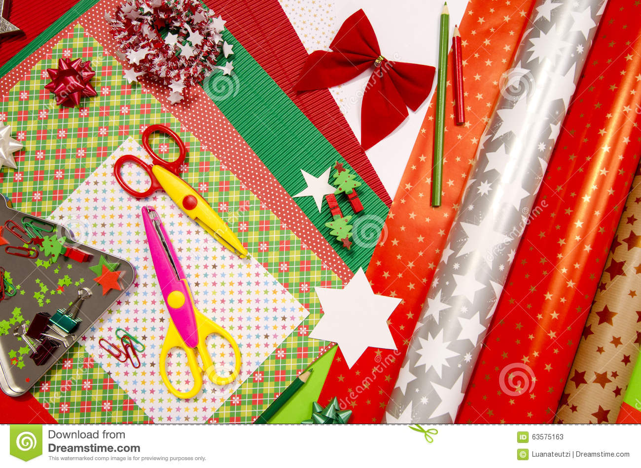Craft Supplies Christmas Part - 50: Christmas Colorful Craft Paper Scissors Supplies ...