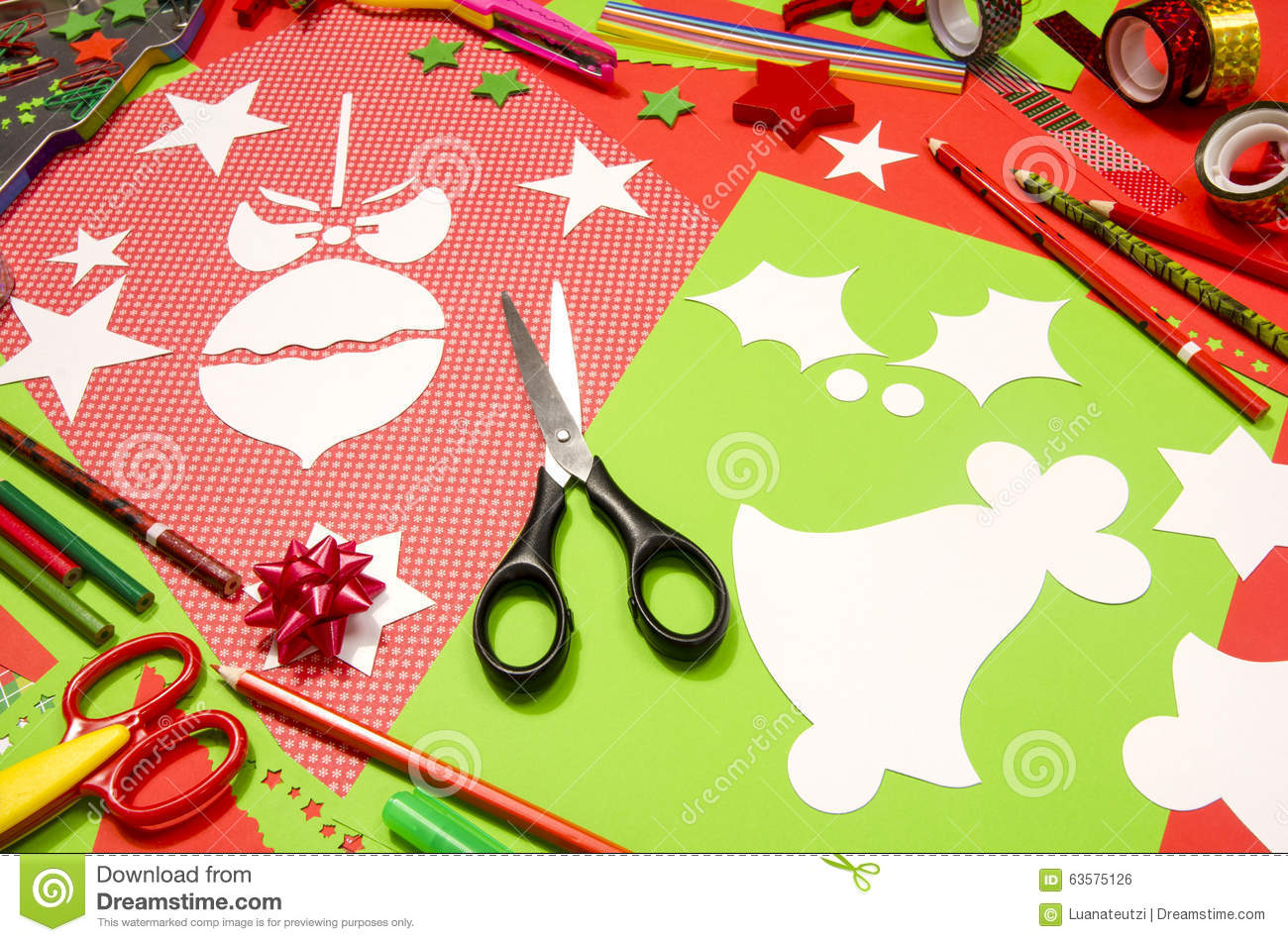 Arts And Craft Supplies For Christmas Stock Photo Image Of