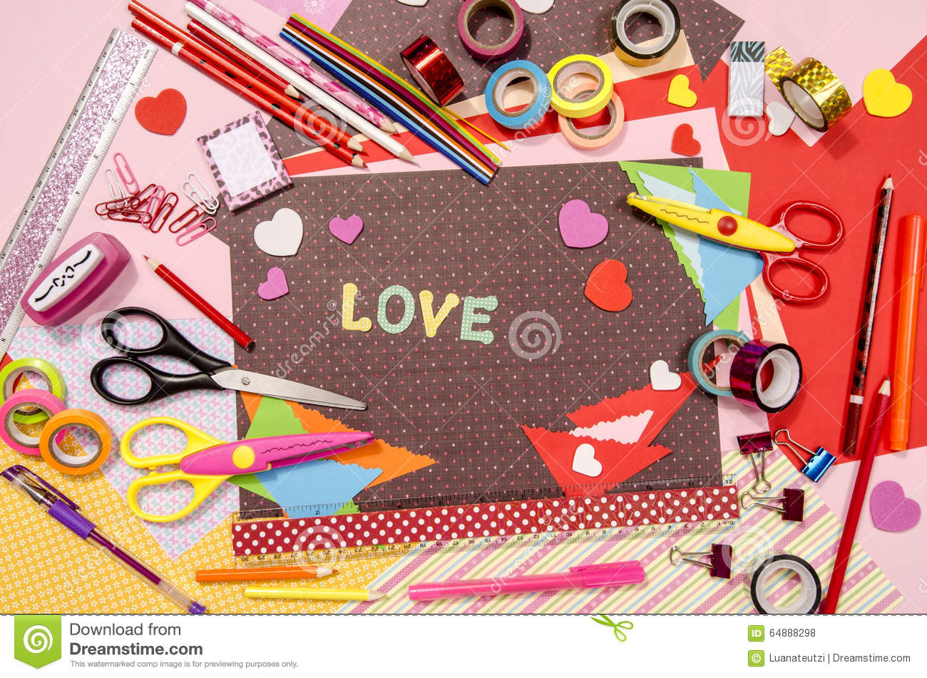 Arts and craft supplies for saint valentine 39 s stock photo for Art and craft shop