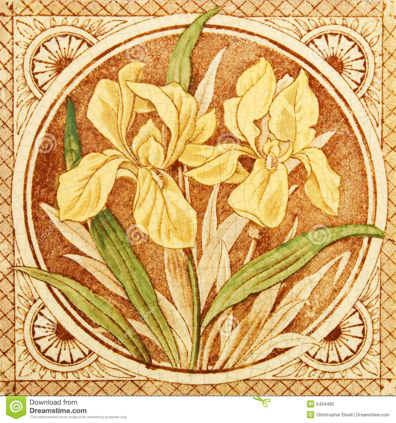 Arts crafts antique tile stock photo image of antique for Arts and crafts floor tile