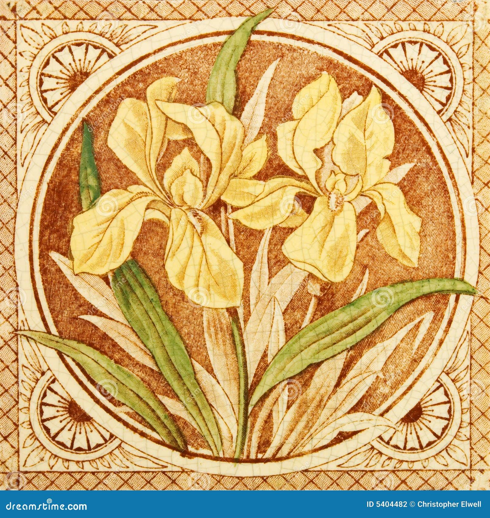 Arts and crafts tiles - Antique Arts Crafts Iris Period Printed Tile