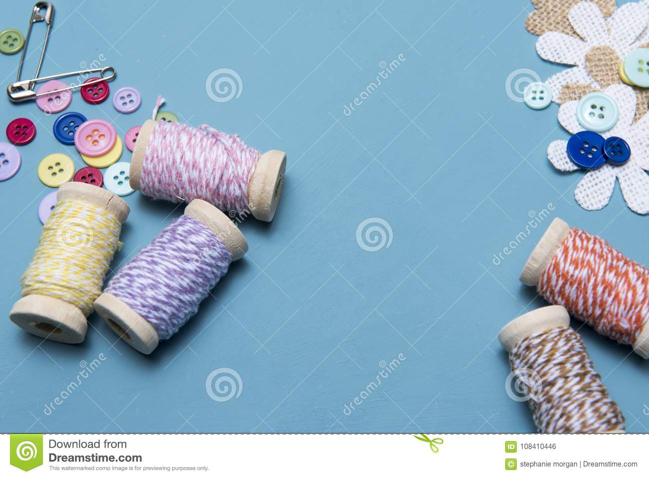 Arts And Crafts Background Image Of Colourful Twine With Buttons And Safety Pins Stock Photo Image Of Colourful Still 108410446