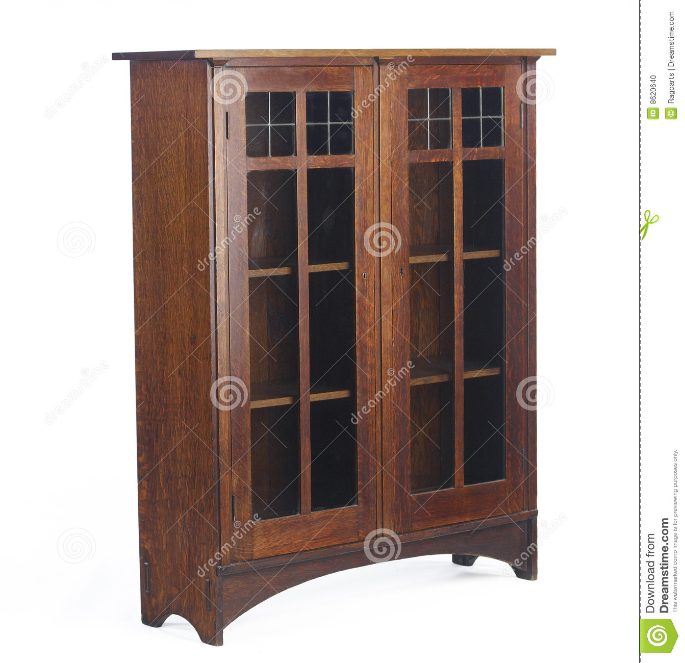 Arts and crafts glass doored bookcase editorial image for Craftsman style bookcase plans
