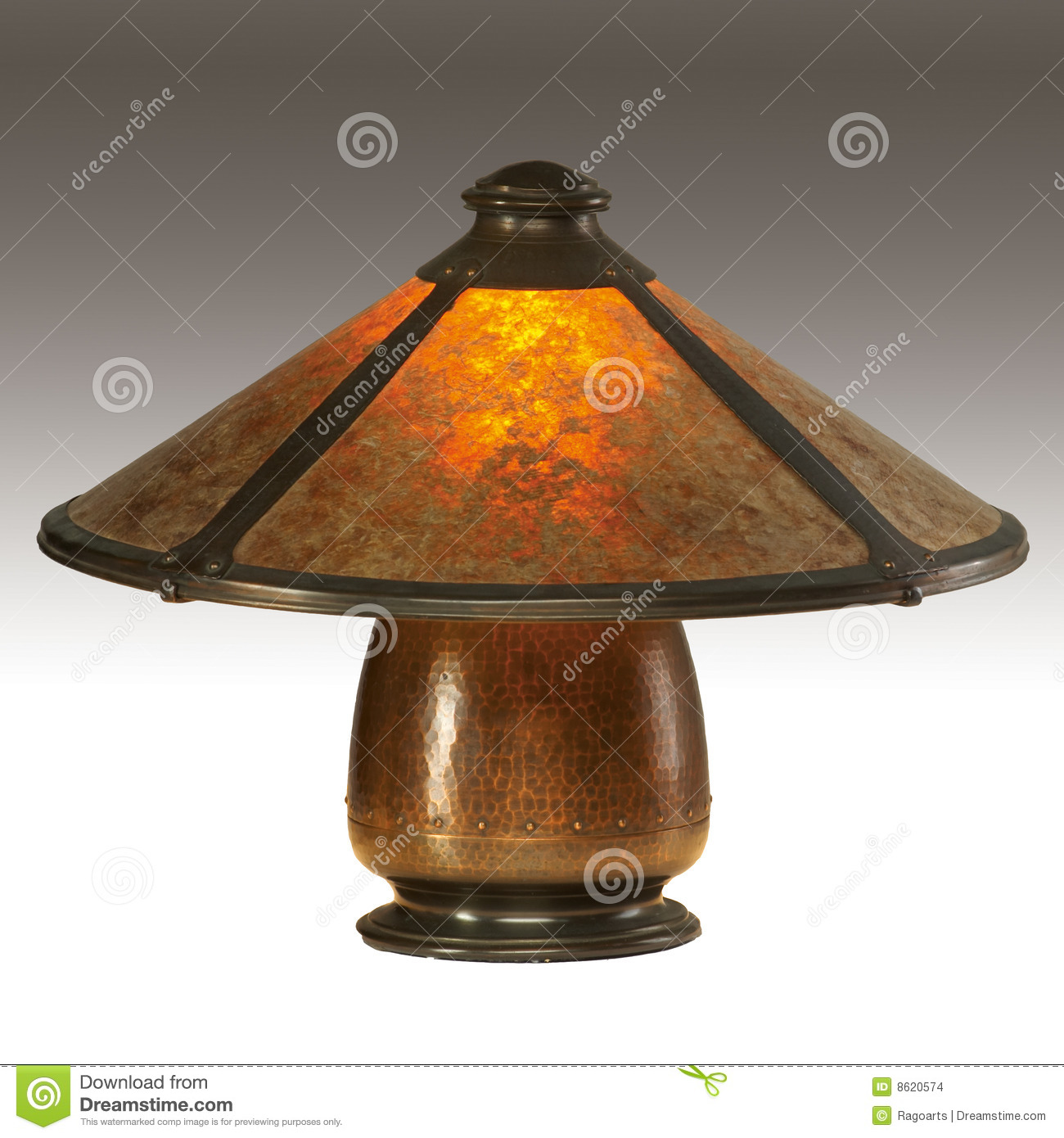Arts And Crafts Mica Shade Table Lamp Editorial Stock