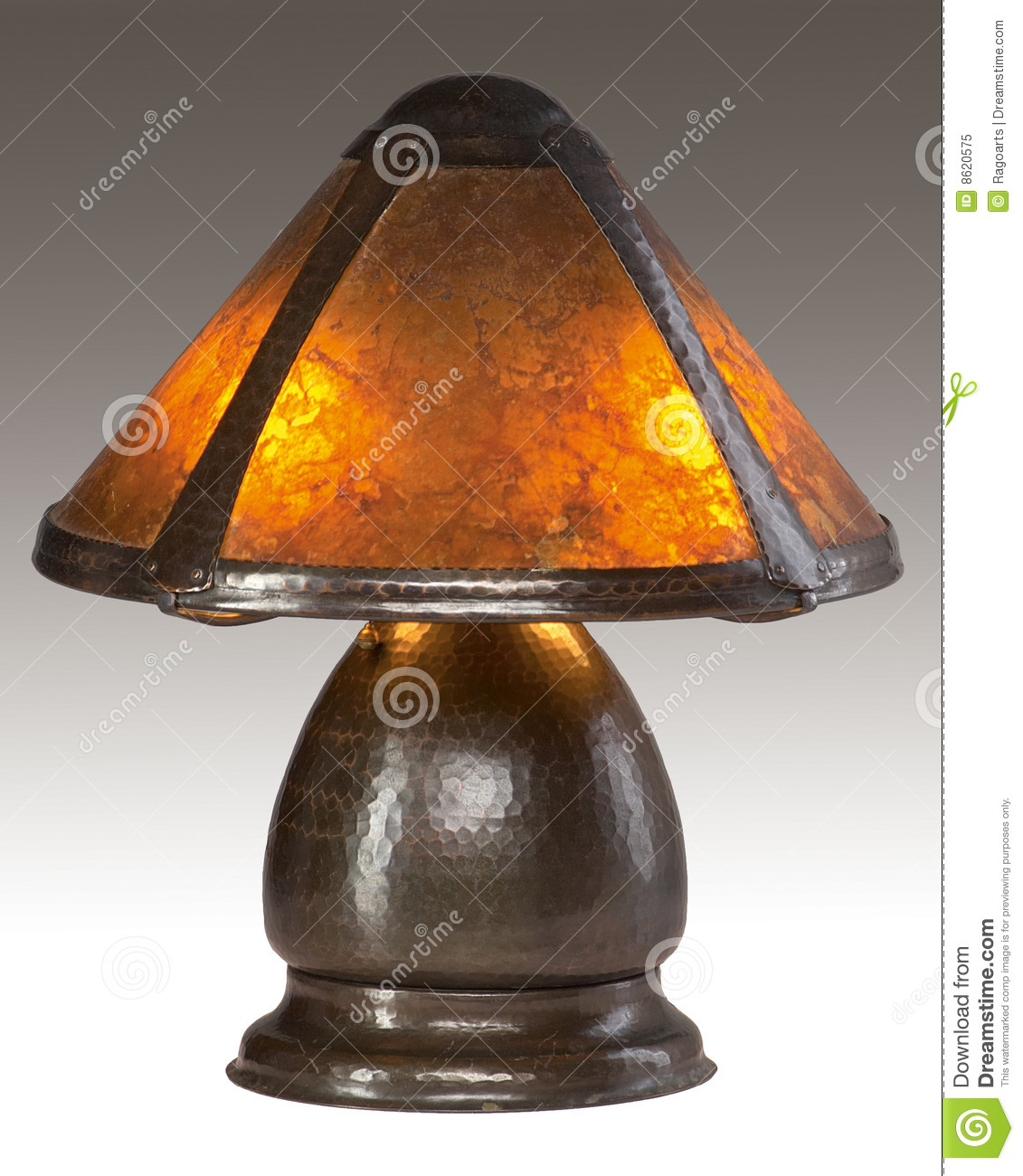Arts And Crafts Mica Shade Table Lamp Editorial Image