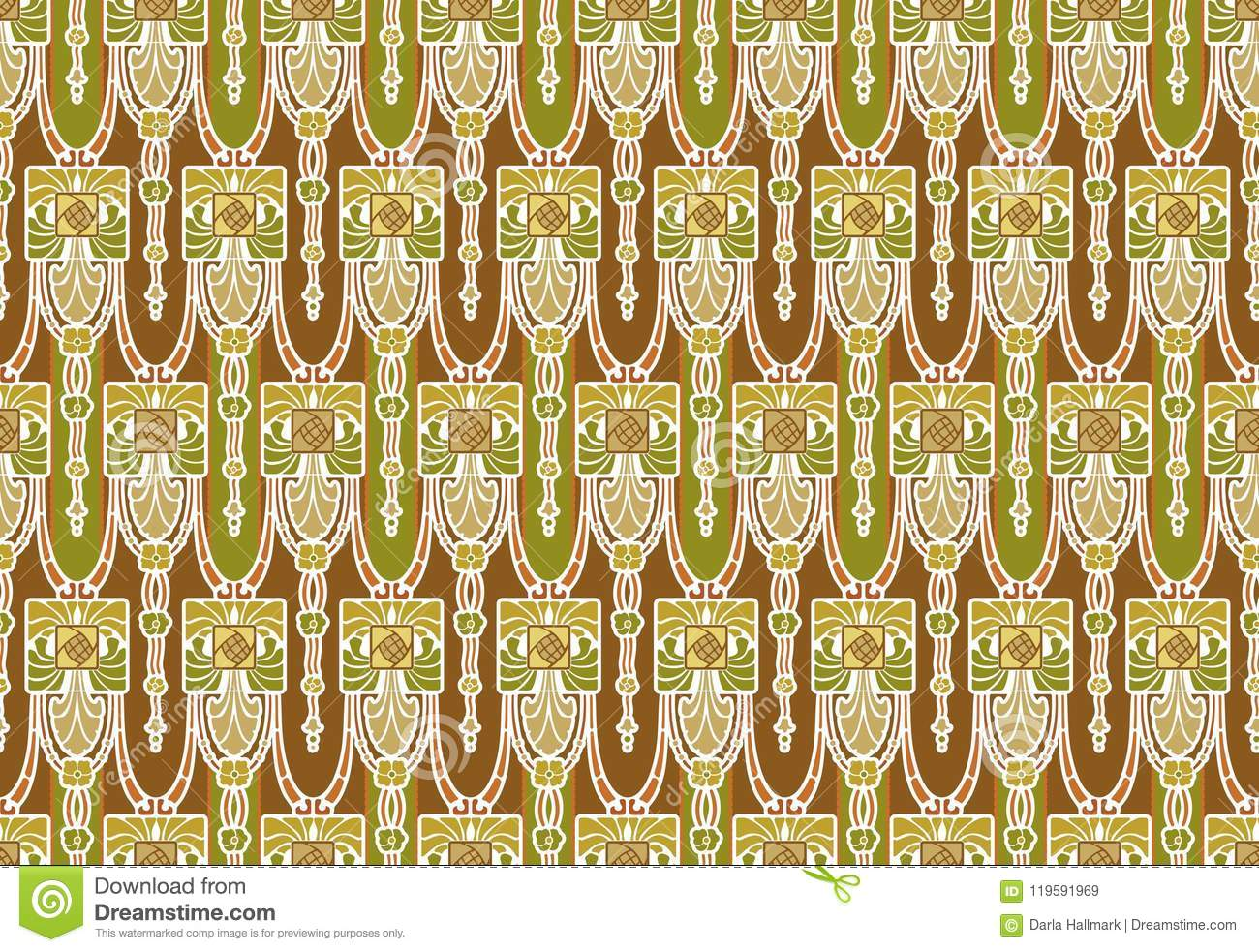 Retro Arts And Crafts Style Wallpaper Pattern Stock Illustration ...