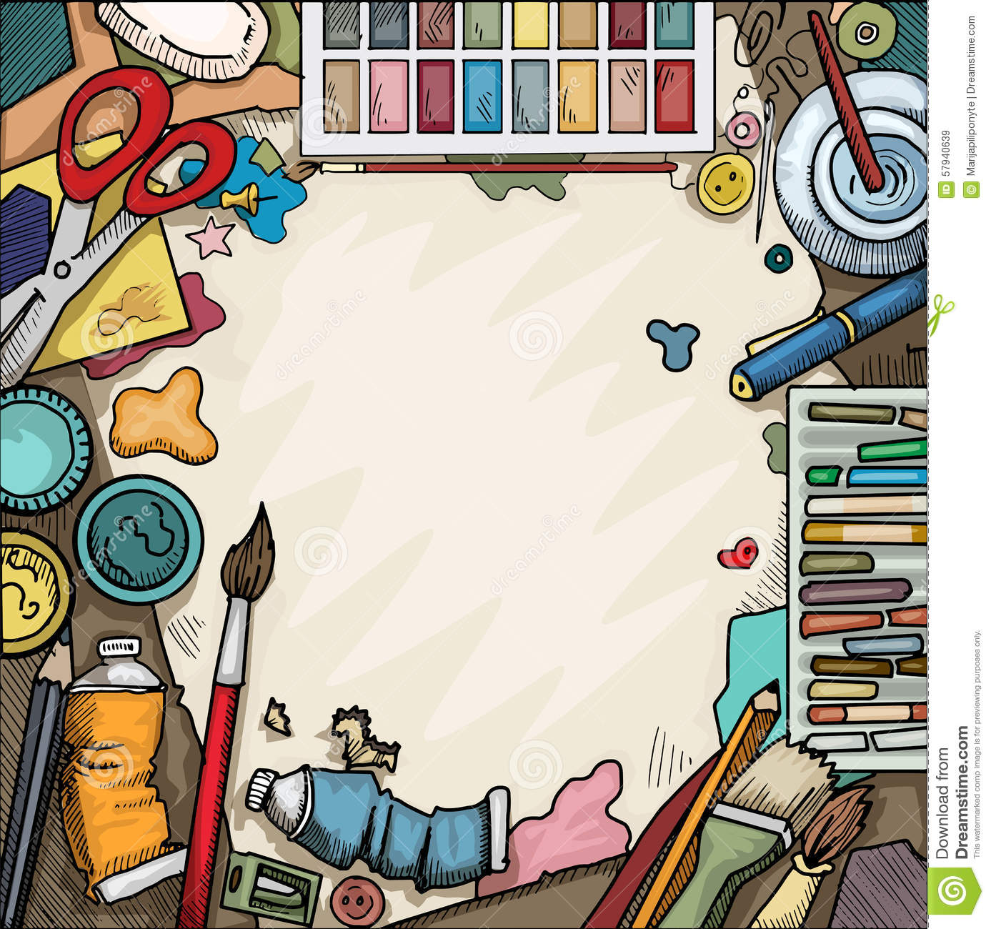 Background ariel view of arts and crafts table with various objects