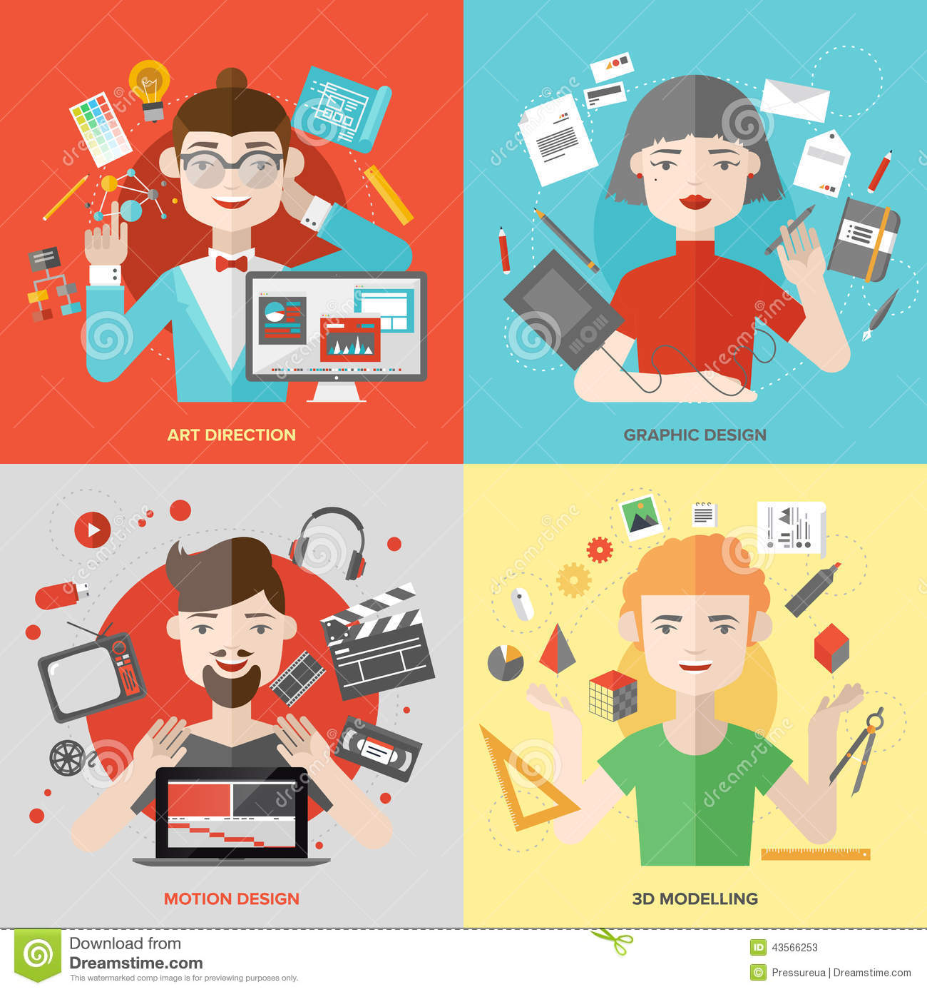 Arts And Design Occupations Flat Illustrations Stock