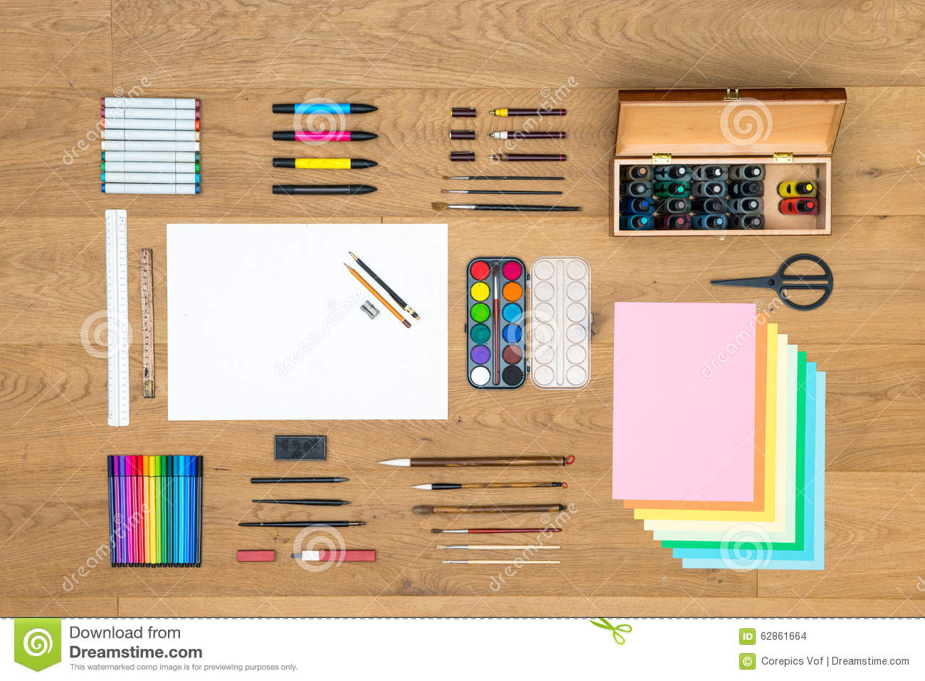 Arts drawing and design background on wooden surface for Markers for wood crafts