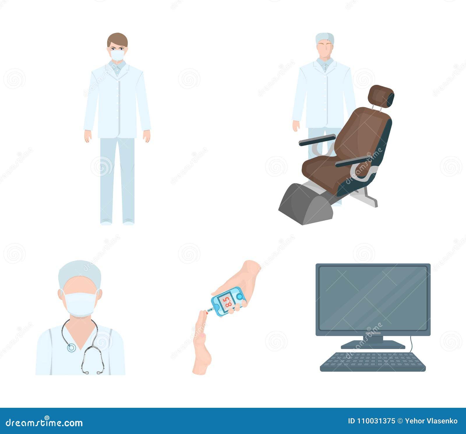 Arts in een gezichtsmasker, tandarts, medisch personeel, een bloedonderzoek voor suiker De pictogrammen van de Medicinesetinzamel