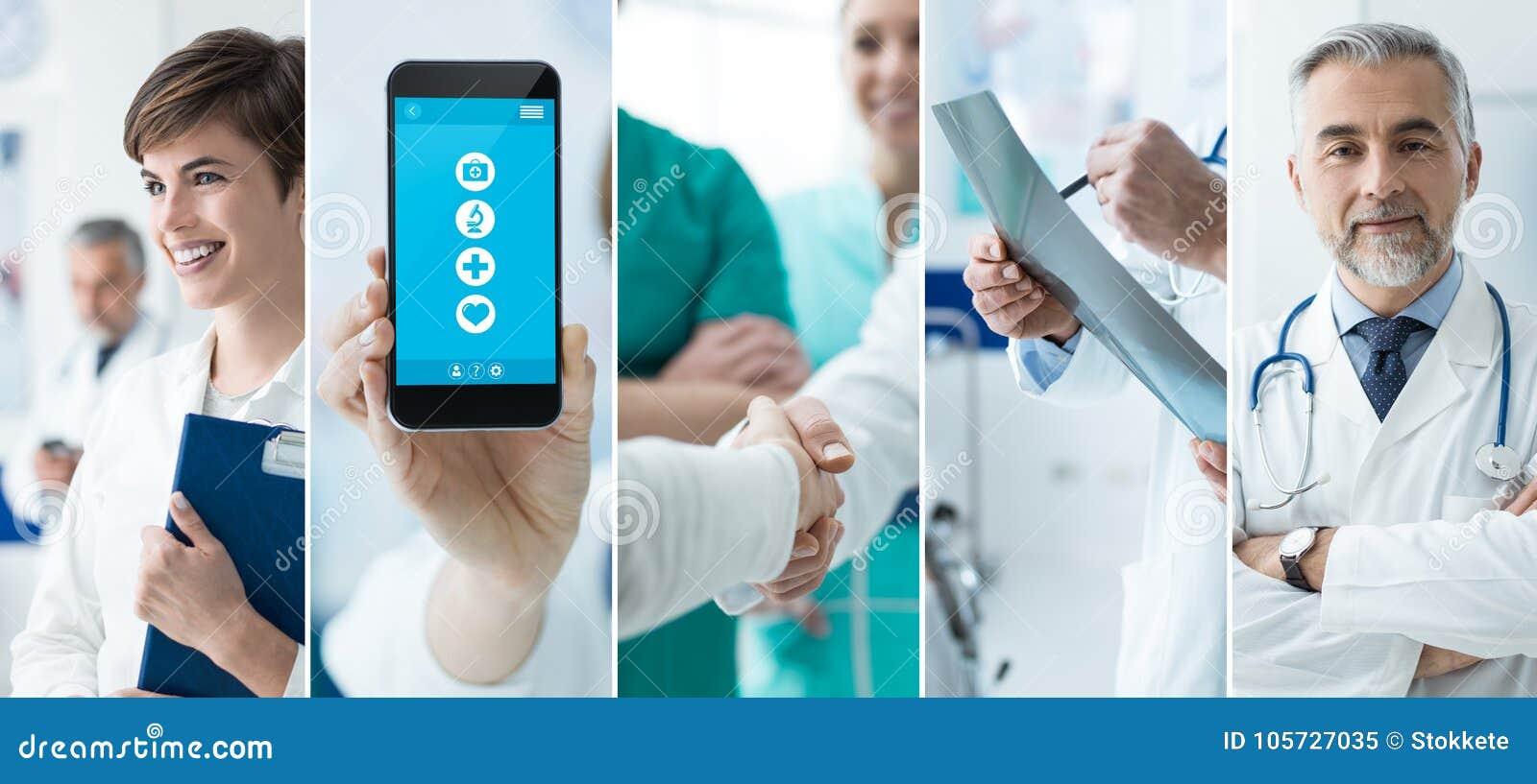 Artsen en medische app fotocollage