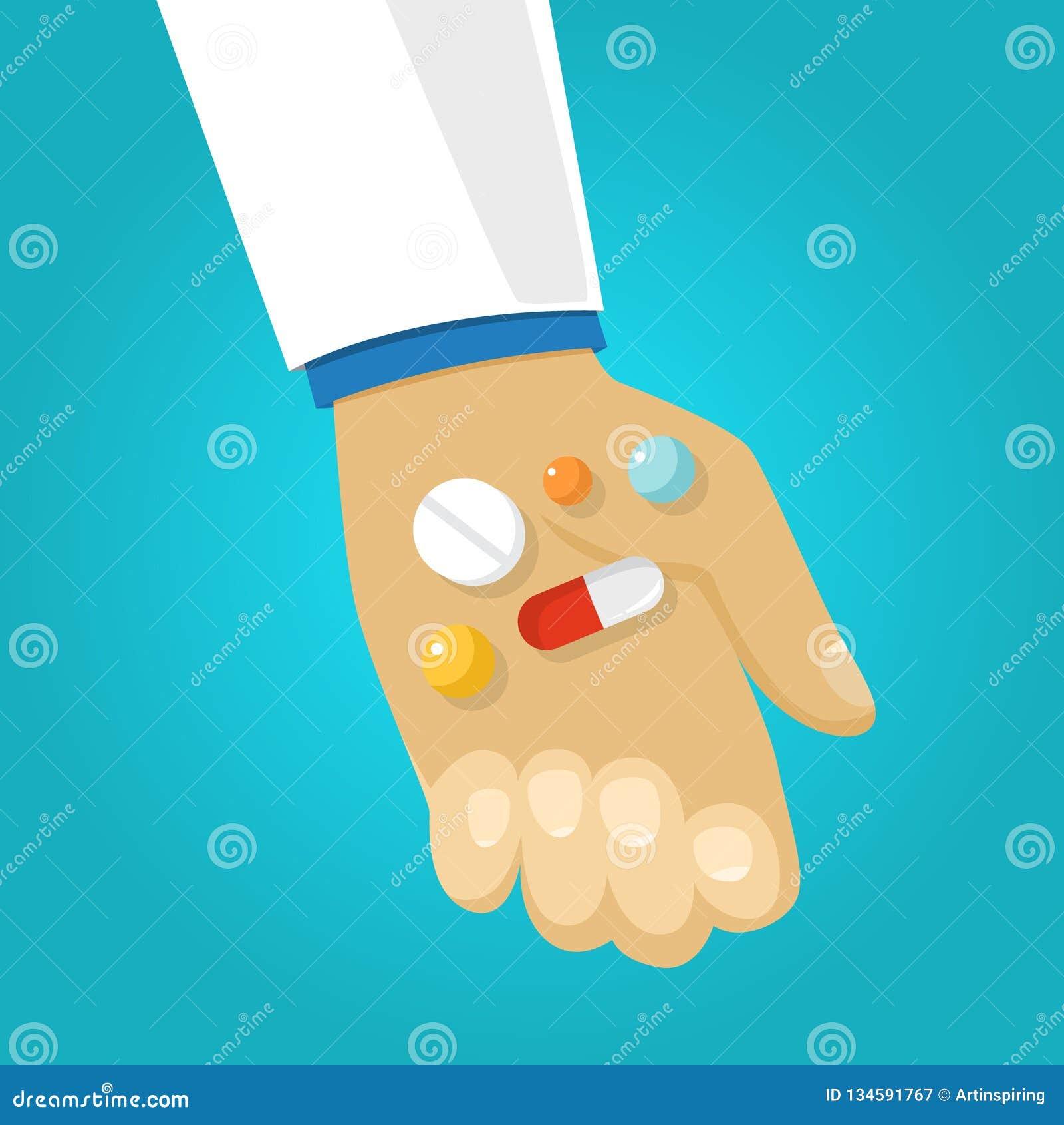 Artsenhand die geduldige geneeskunde geven Dosis medisch