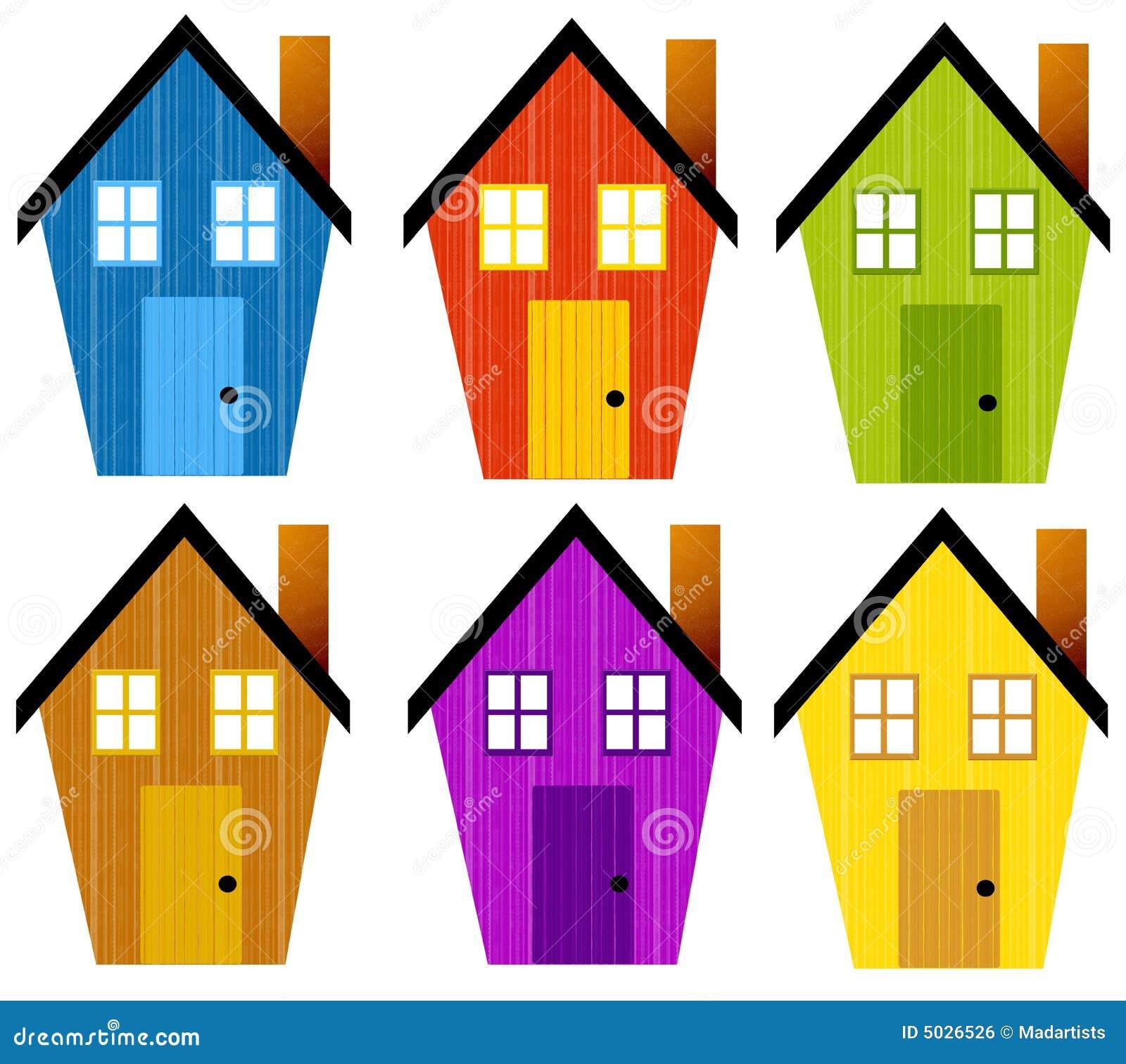 Artsy Rustic Clip Art Houses Stock Illustration ...