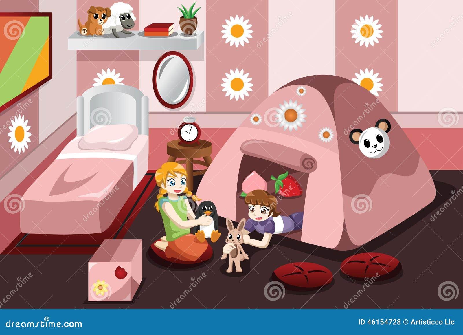 Żartuje bawić się w namiocie wśrodku sypialni