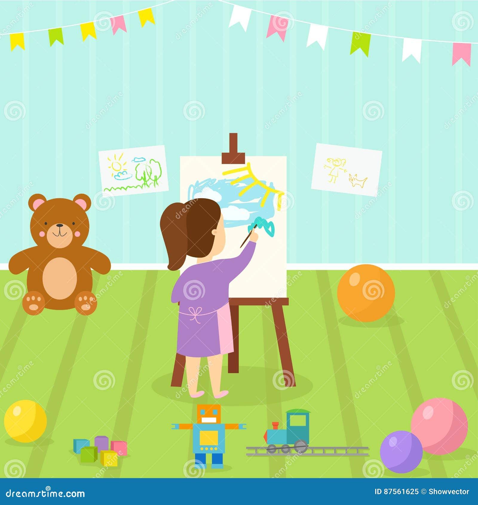 Żartuje playroom z lekkim meblarskim wystroju boiskiem i bawi się na podłogowej dywanowej dekoruje mieszkanie stylowej kreskówce