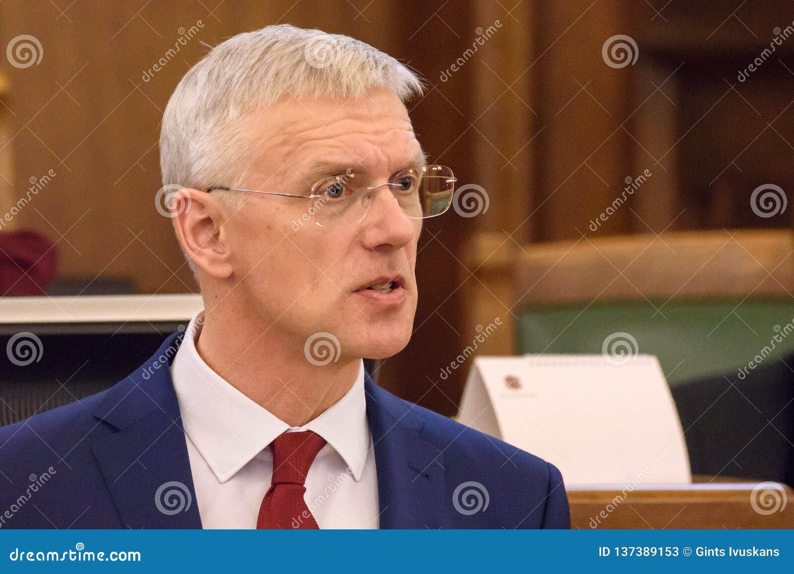 Arturs Krisjanis Karins, kandidaat voor Eerste minister van Letland tijdens stemming van nieuwe coalitie van regering van Letland