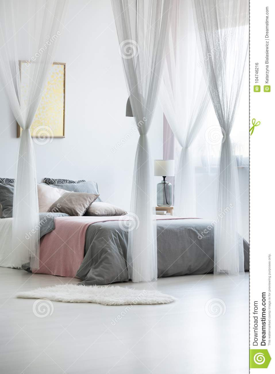 - Canopy Drapes In Calm Interior Stock Photo - Image Of King, Home