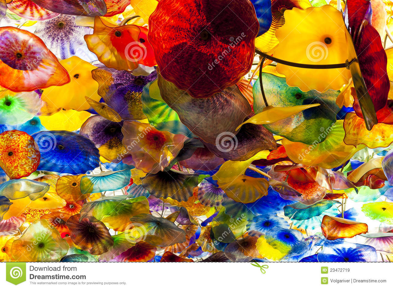 Artwork By Dale Chihuly In Bellagio Hotel Casino Editorial