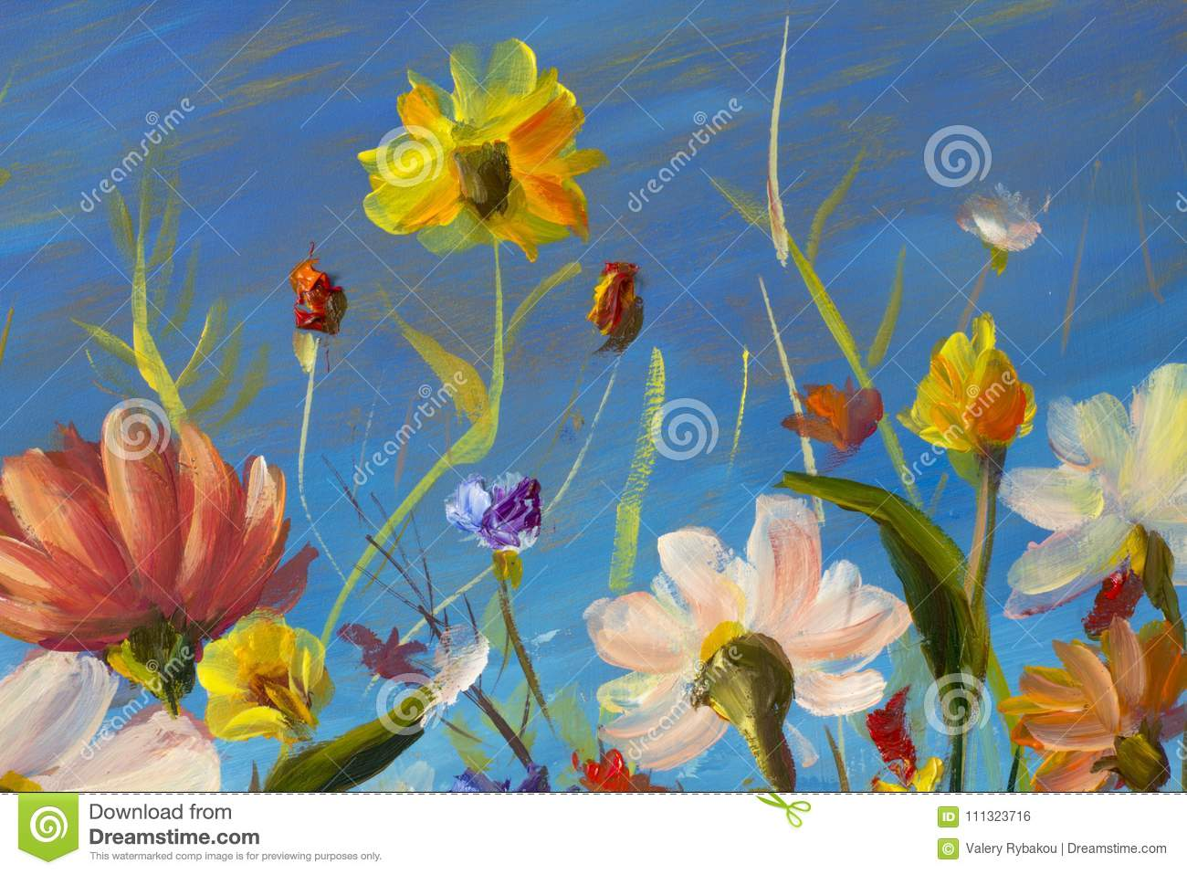 Red Yellow Blue Purple Abstract Flowers Illustration Macro