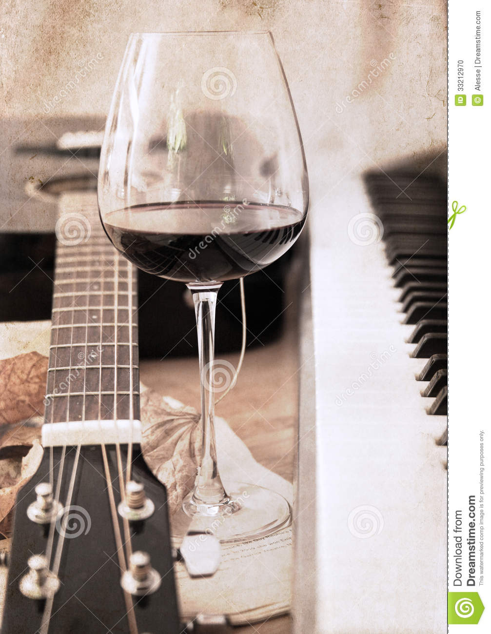 Artwork In Retro Style Music And Wine Stock Photo Image
