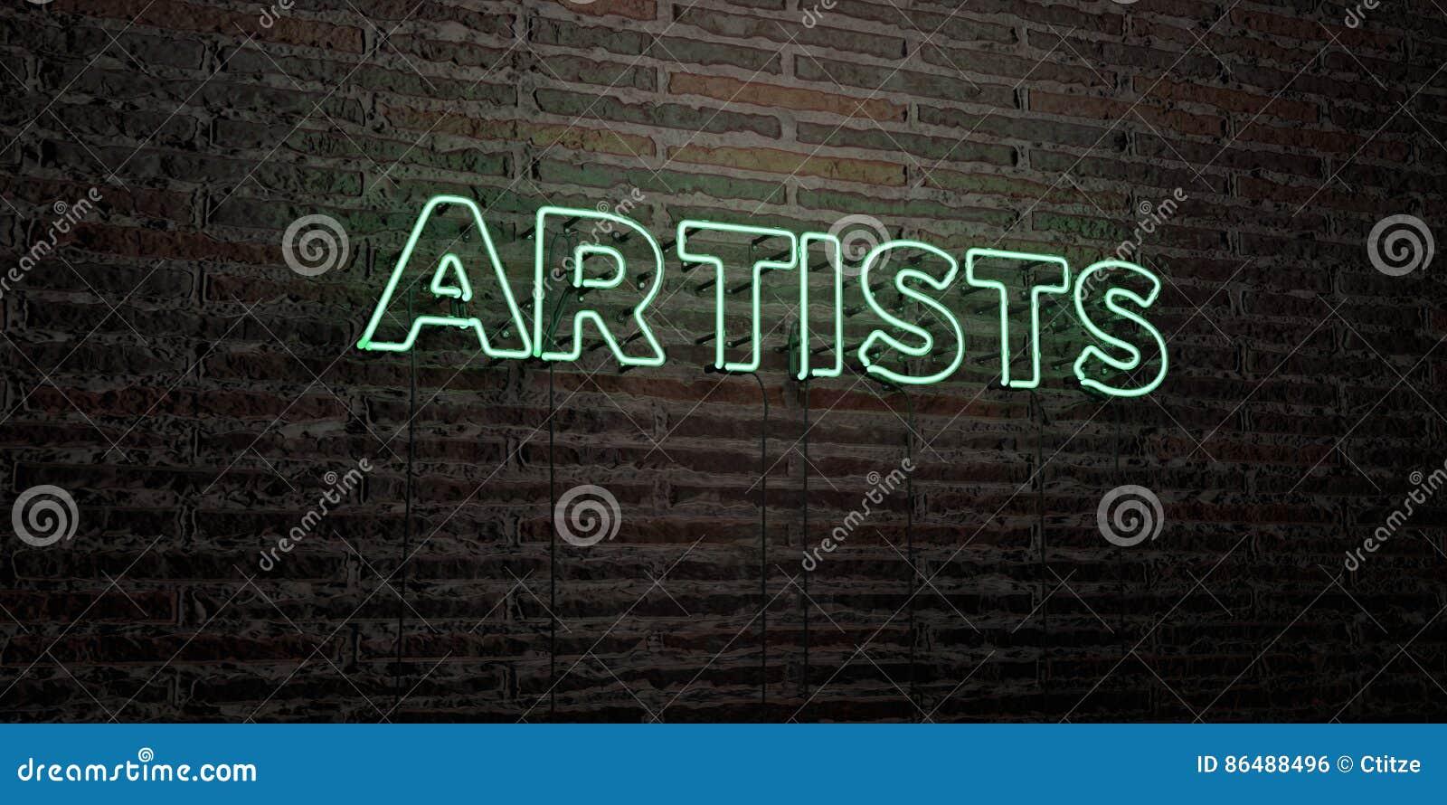 ARTYŚCI - Realistyczny Neonowy znak na ściana z cegieł tle - 3D odpłacający się królewskość bezpłatny akcyjny wizerunek