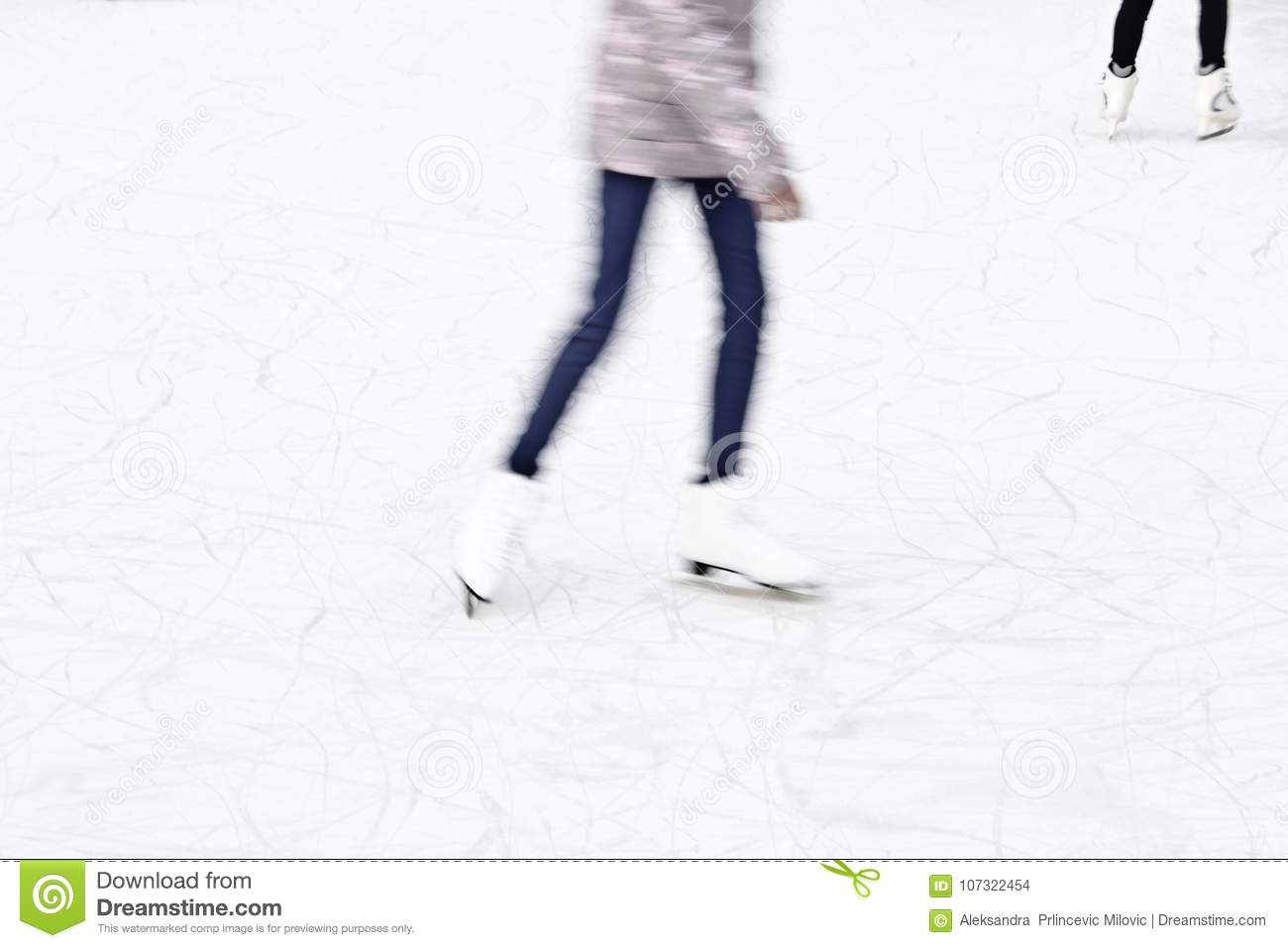 Arty blurry ice skating detail
