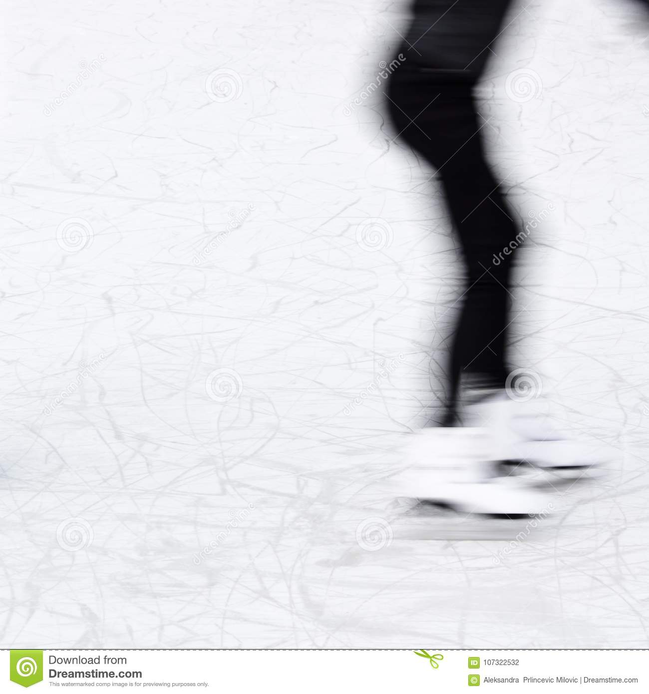 Arty blurry ice skating girl