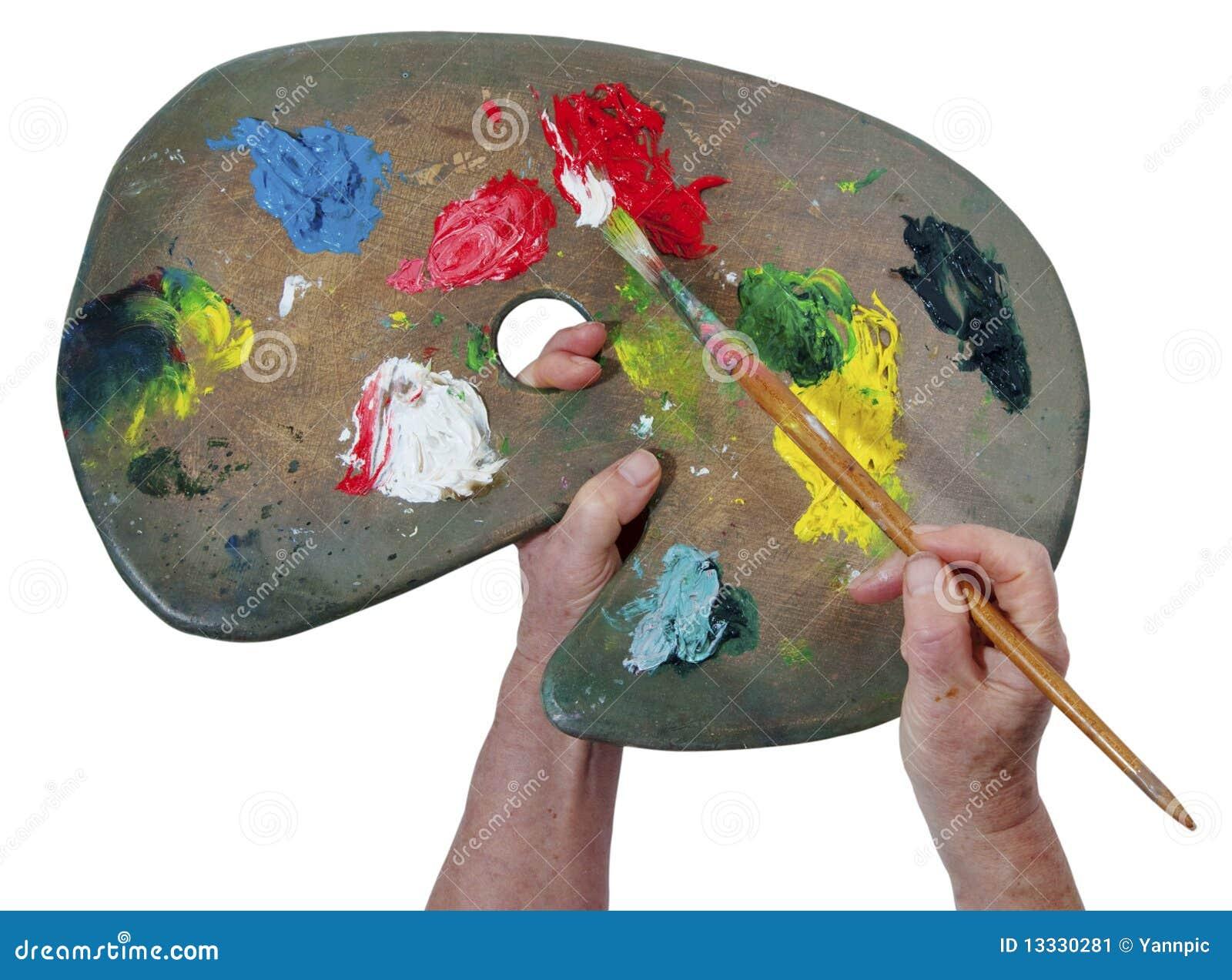 Artysty colour wręcza paletę s