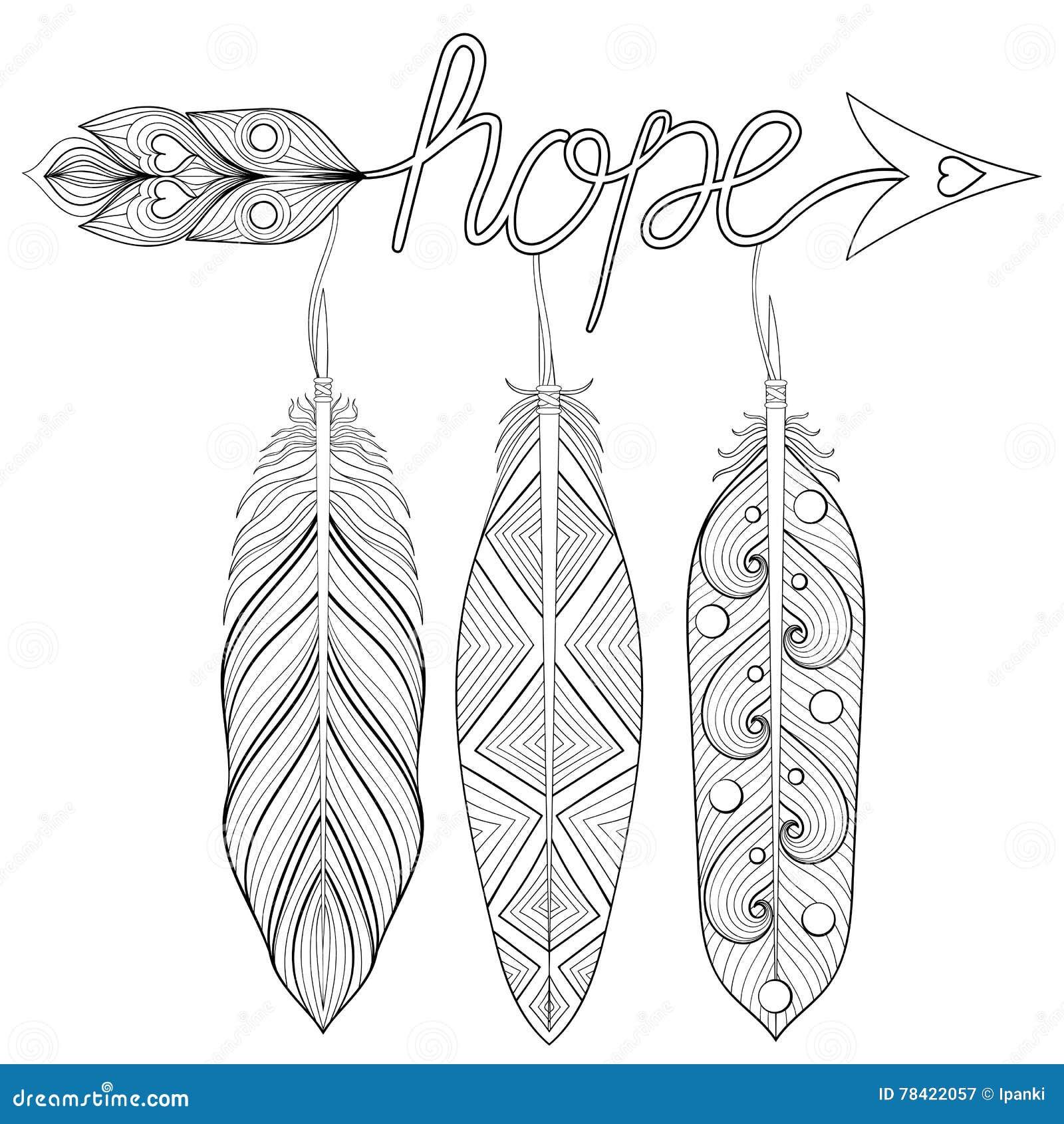 Artystyczna strzała, ręka rysujący amulet z listami Mieć_nadzieja, z feathe