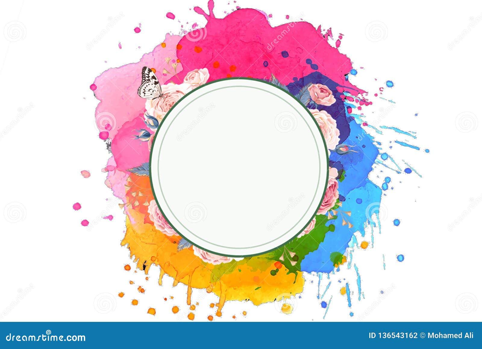 Artystyczny Abstrakcjonistyczny Stubarwny Unikalny set kolory Z Rozjarzonym okręgiem W Białym tle