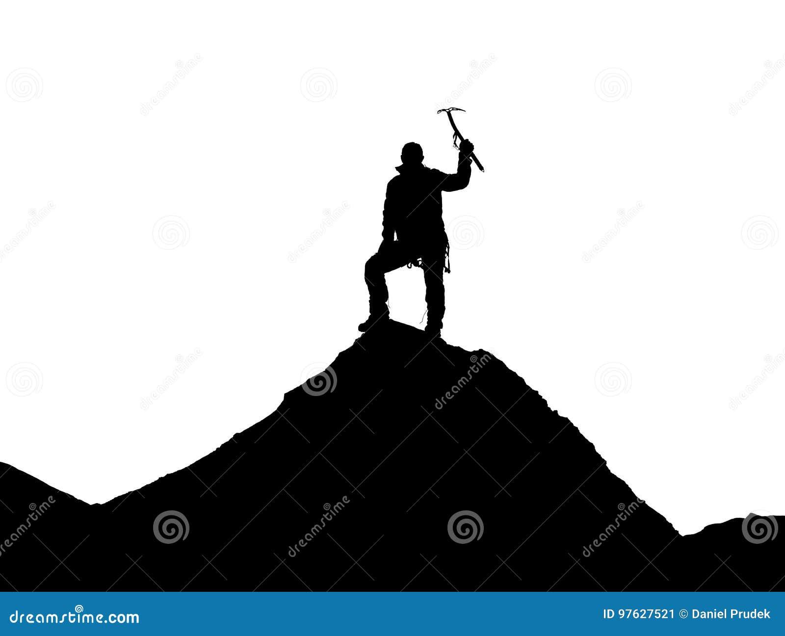 Arywista z lodową cioską w ręce na górze Everest