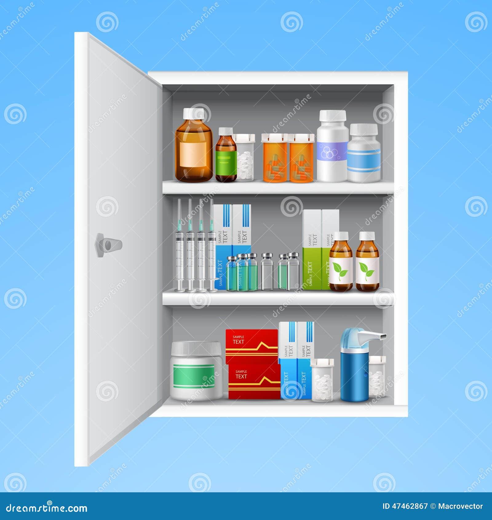 arzneischrank realistisch vektor abbildung bild 47462867. Black Bedroom Furniture Sets. Home Design Ideas