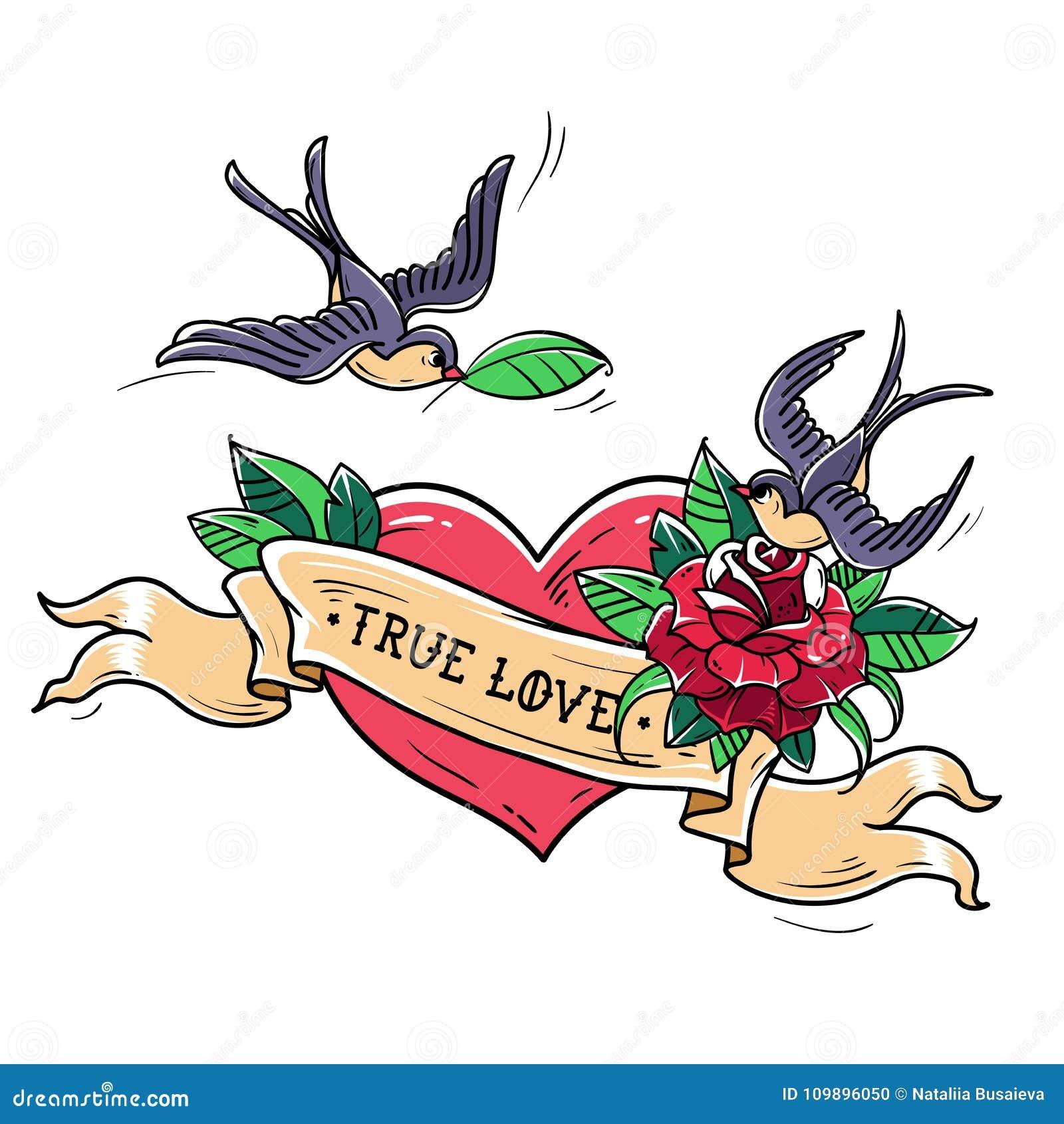 As andorinhas da tatuagem voam sobre o coração vermelho e aumentaram Conceito verdadeiro do amor Símbolo do amor mútuo, felicidad