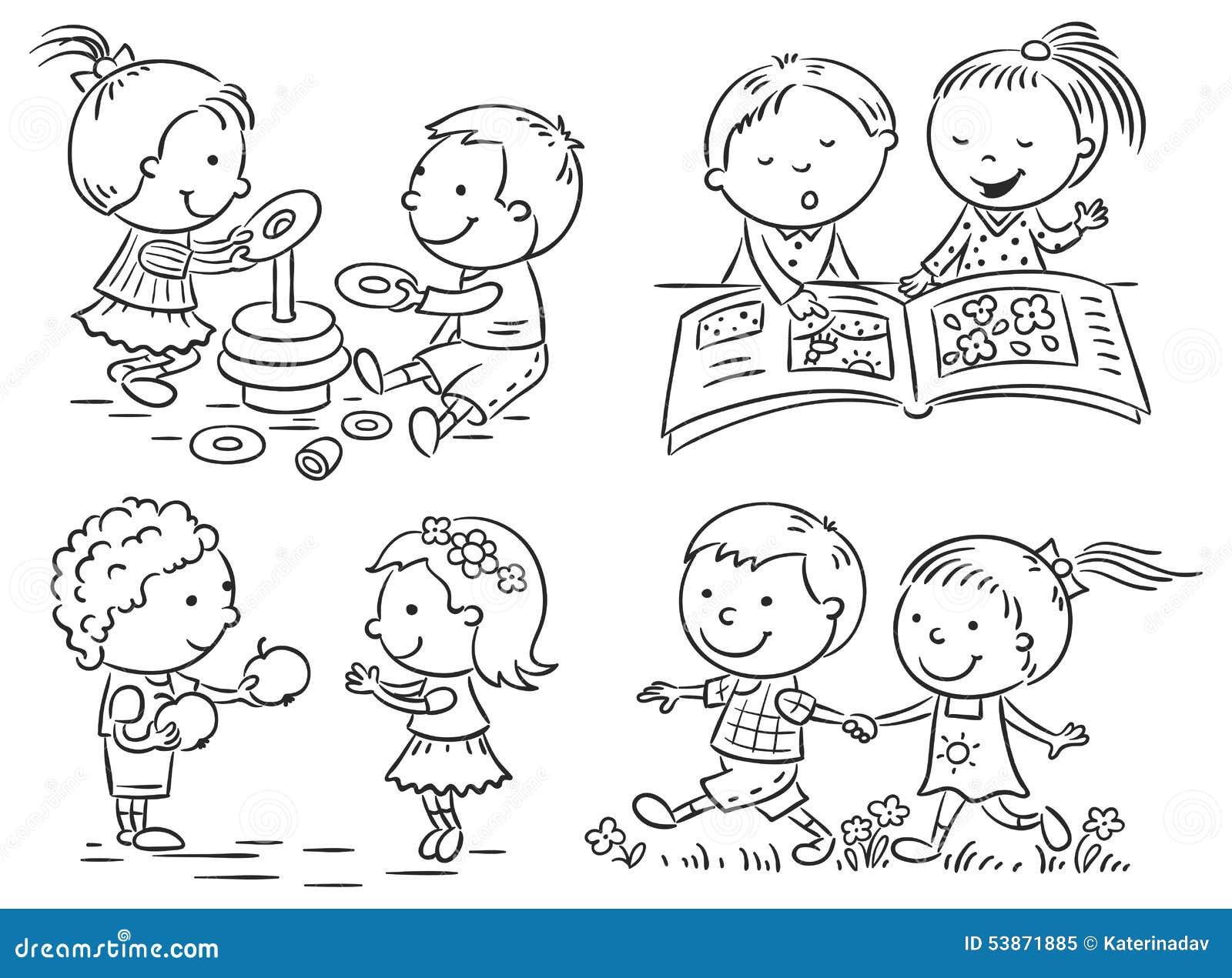 As Atividades Das Crianças Ajustadas, Preto E Branco