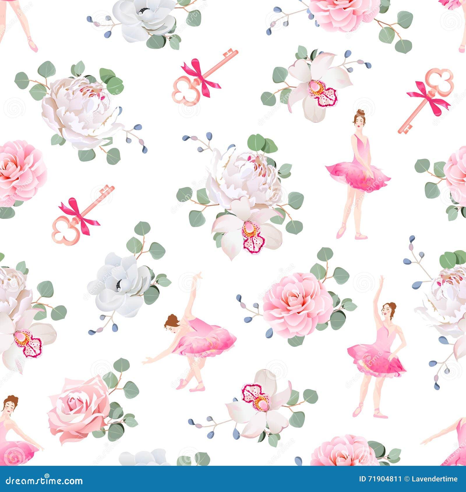 As bailarinas bonitas dançam, chaves com curvas e teste padrão sem emenda do vetor dos ramalhetes frescos da flor da mola