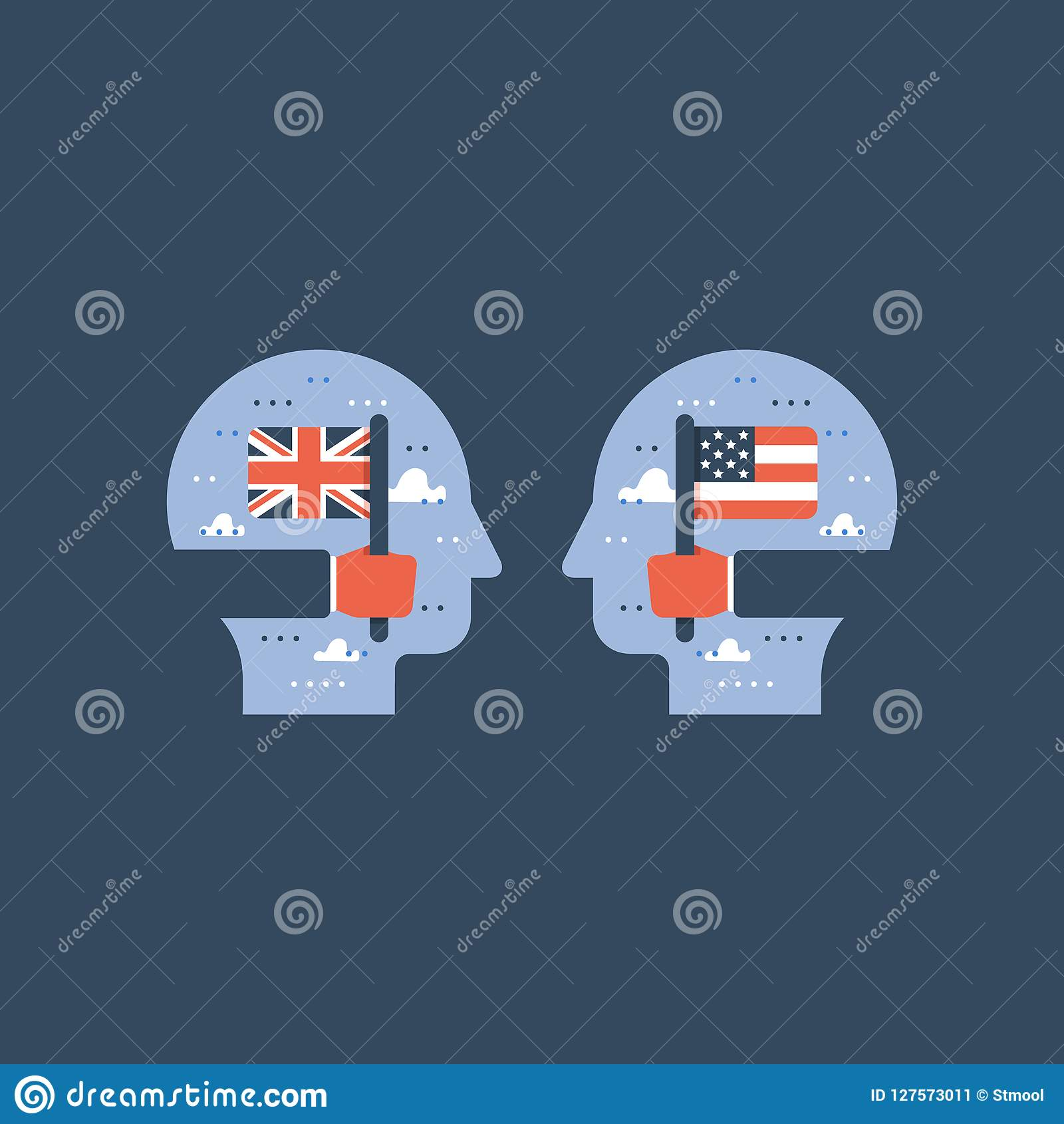 As bandeiras americanas e britânicas, aprendem o inglês, programa educativo, troca internacional do estudante