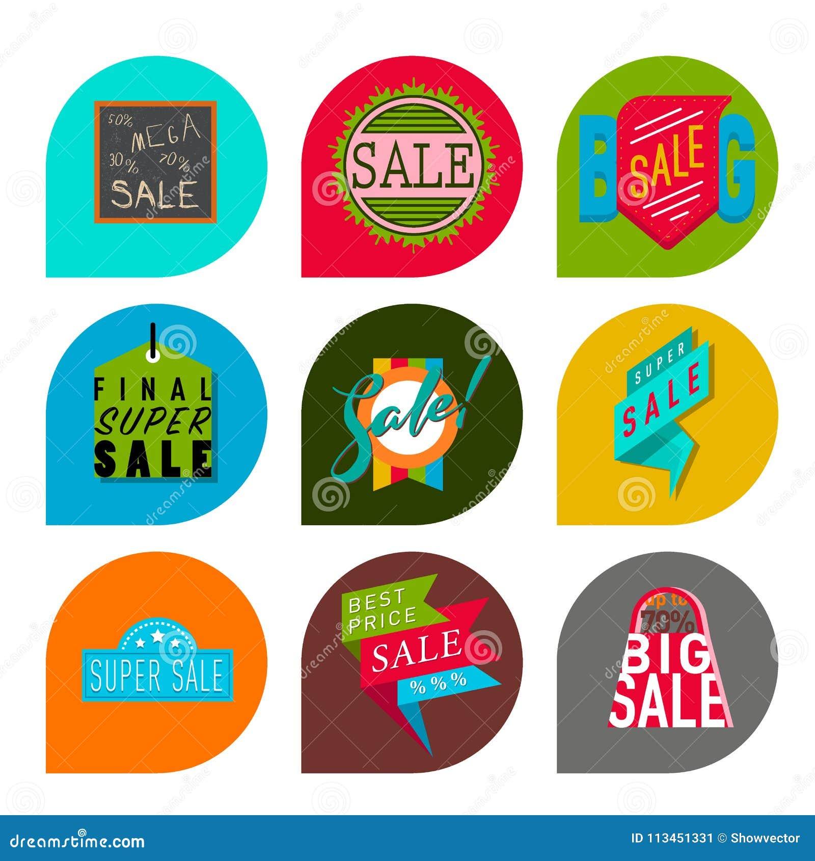 As bandeiras extra do bônus da venda super text na ilustração tirada cor do vetor da promoção do Internet da compra do negócio da