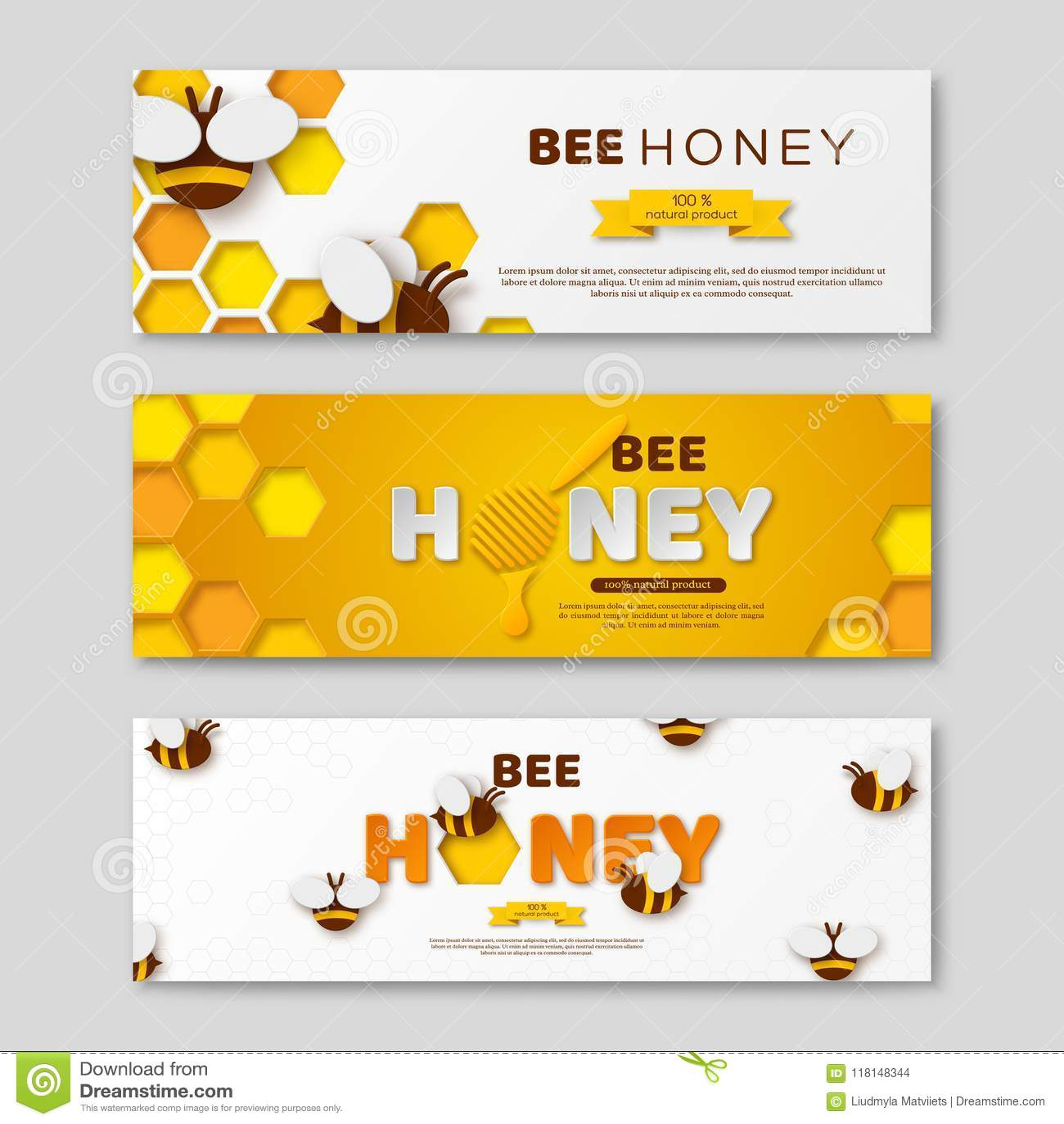 As bandeiras horizontais do mel da abelha com papel cortaram letras do estilo, pente e abelhas, ilustração do vetor