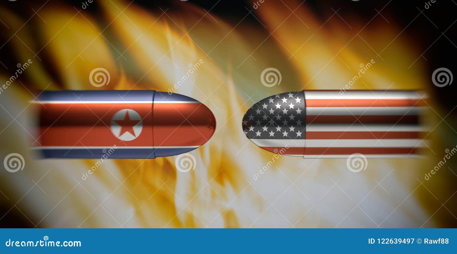 As bandeiras norte-coreanas e americanas em balas, fogo ardem o fundo ilustração 3D
