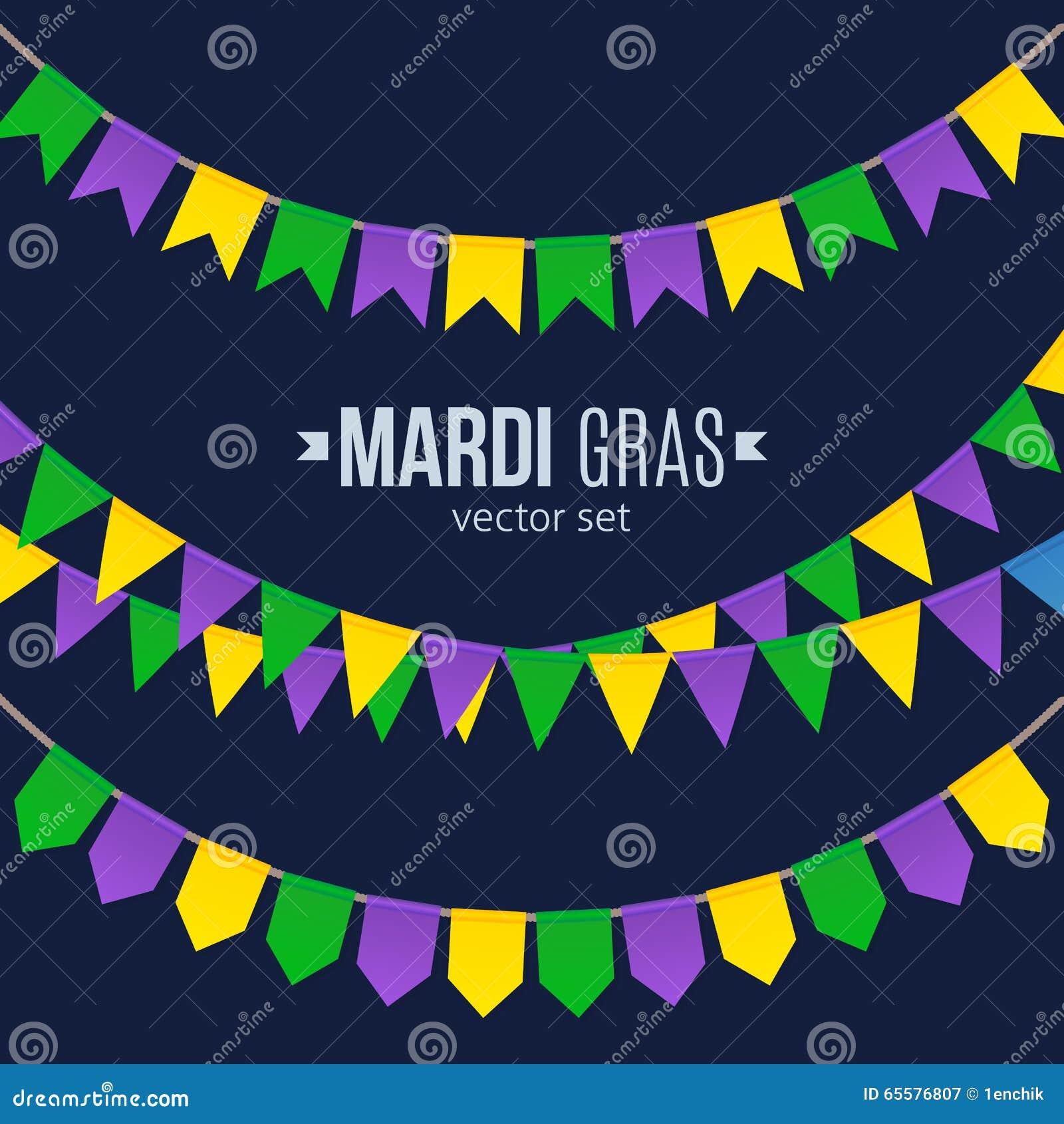 As bandeiras tradicionais de Mardi Gras ajustaram-se isolado no fundo escuro