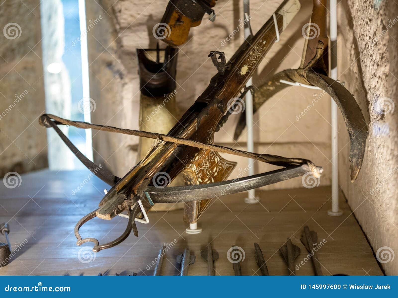 As bestas antigas indicaram nas salas do castelo de Castelnaud fortaleza medieval no Castelnaud-la-Chapelle, Dordogne, Aquitaine,