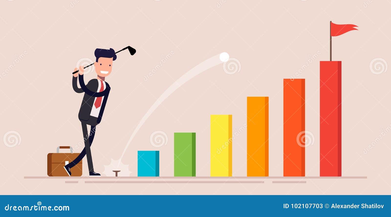 As bolas de golfe felizes da batida do homem de negócios ou do homem de negócios do gerente vão ao objetivo no gráfico de negócio