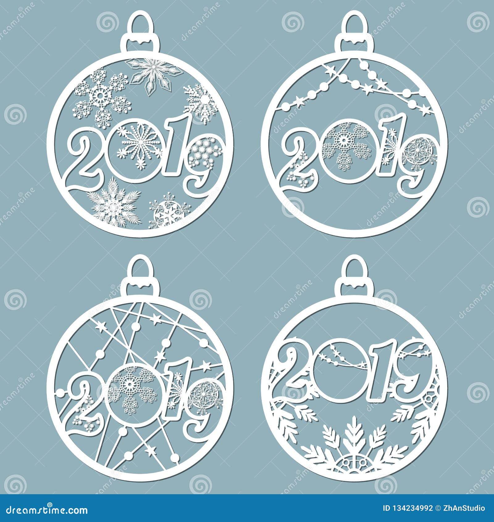 2019 As bolas do Natal ajustaram-se com um floco de neve cortado do papel Moldes para o corte do laser, o corte do plotador ou im