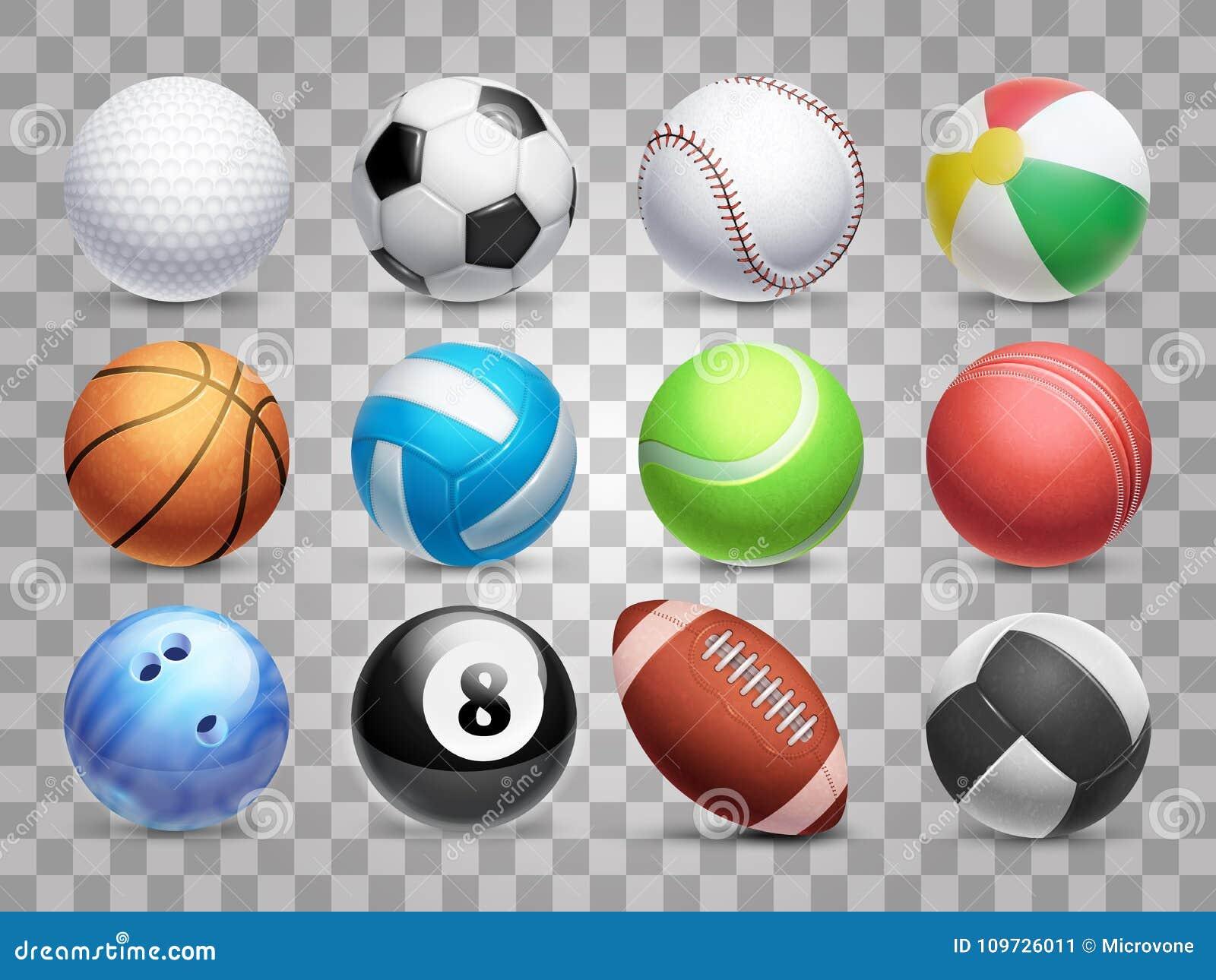 As bolas realísticas dos esportes vector o grupo grande isolado no fundo transparente